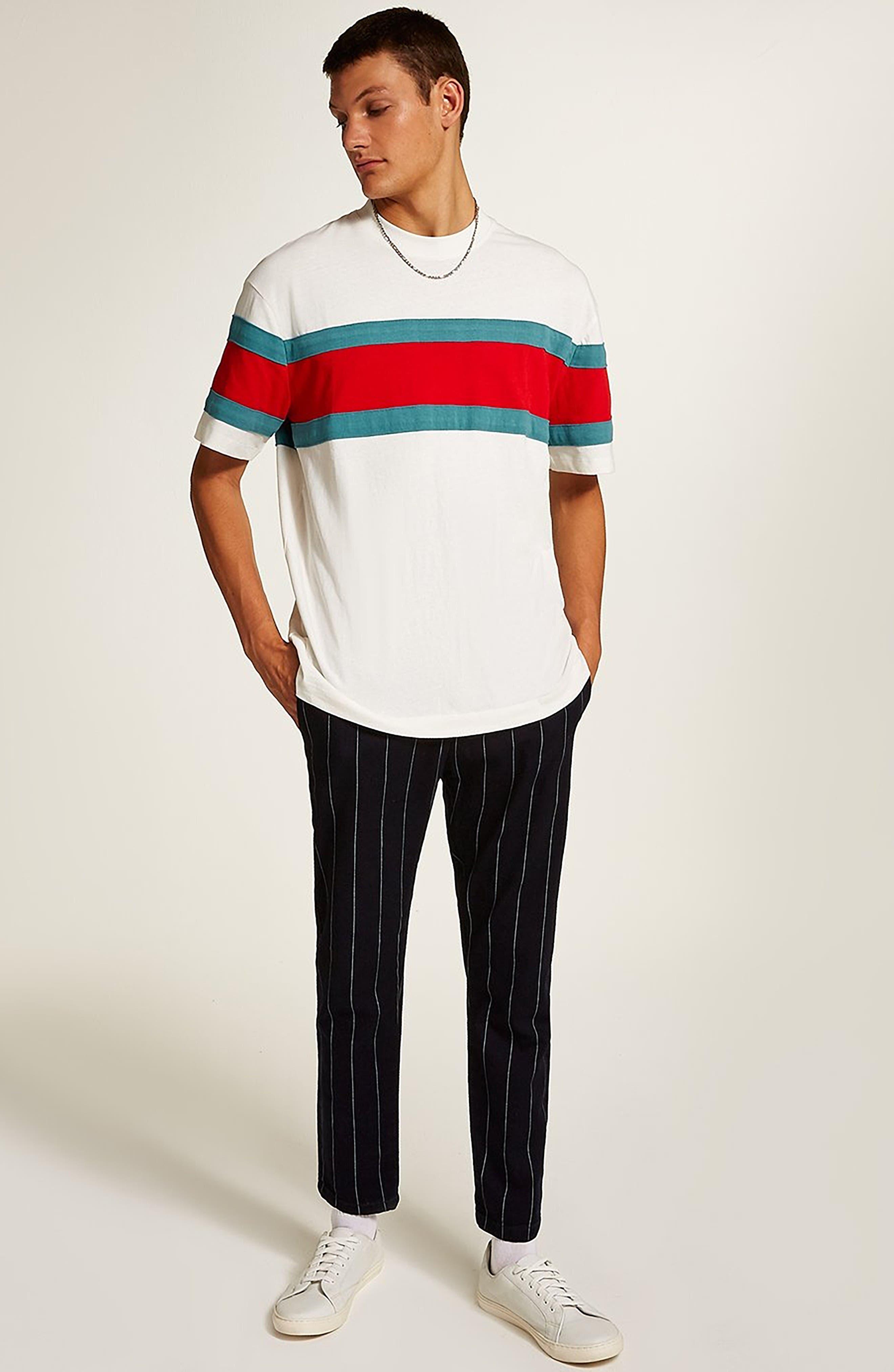 Oversize Stripe T-Shirt,                             Alternate thumbnail 5, color,                             101
