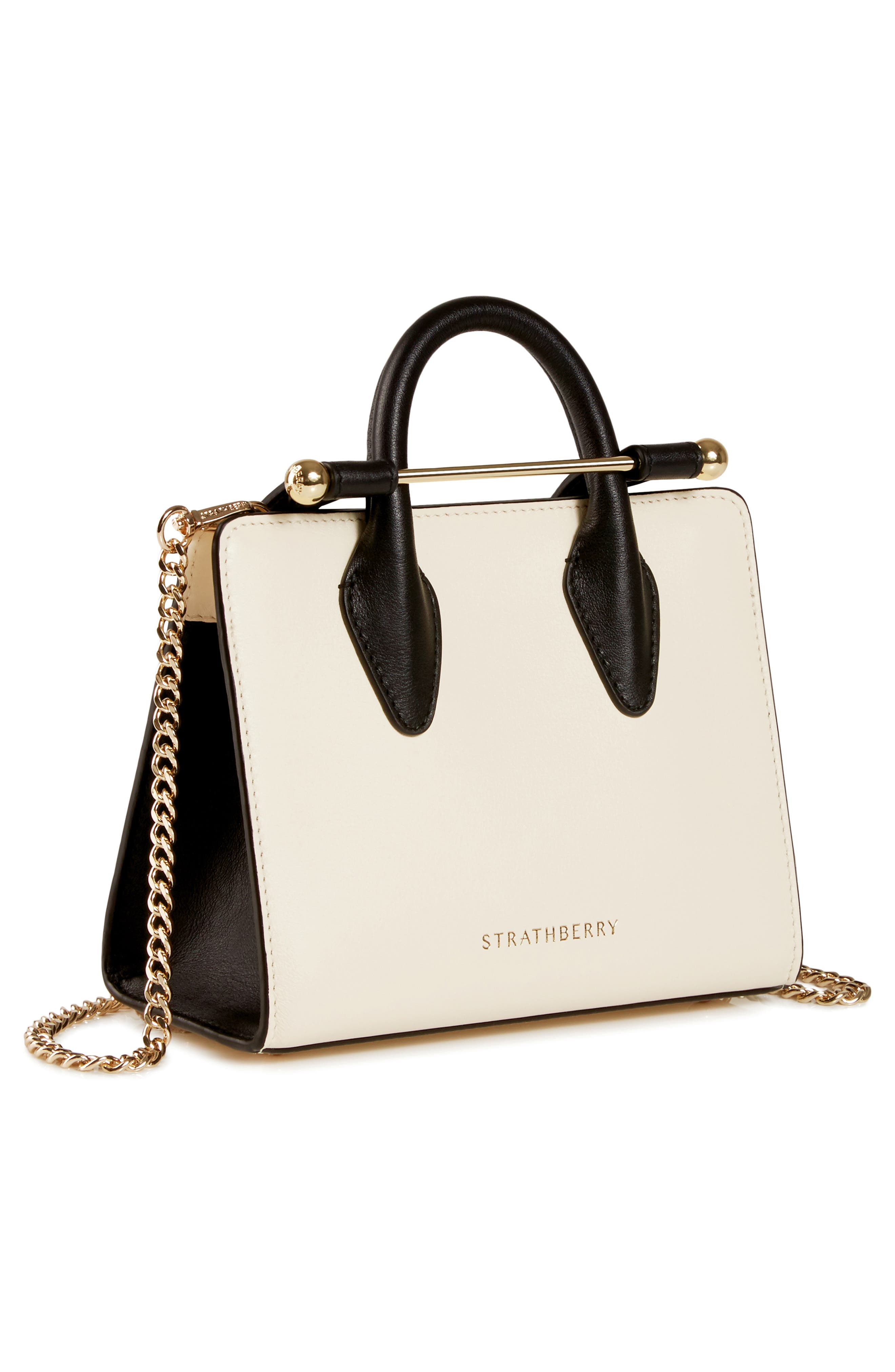 STRATHBERRY,                             Nano Bicolor Leather Tote,                             Alternate thumbnail 3, color,                             900