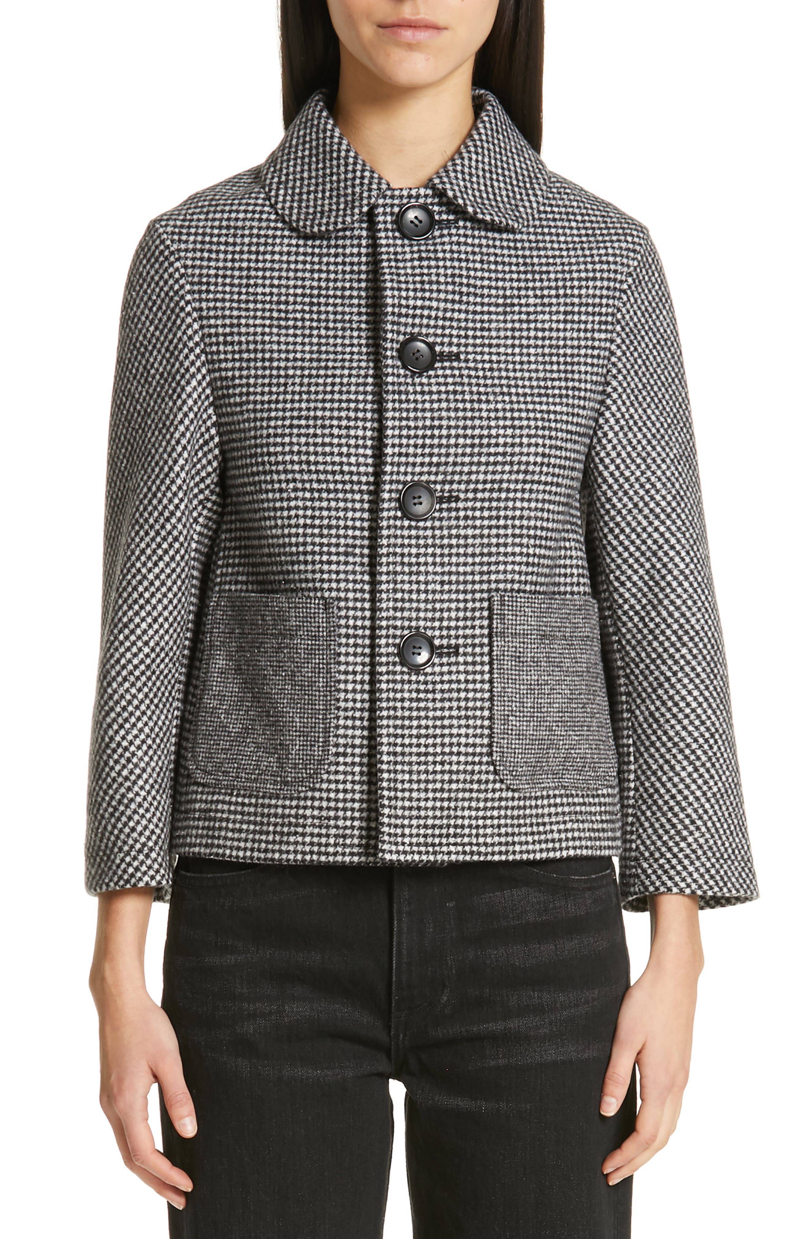 Houndstooth Crop Jacket,                         Main,                         color, LARGE X SMALL