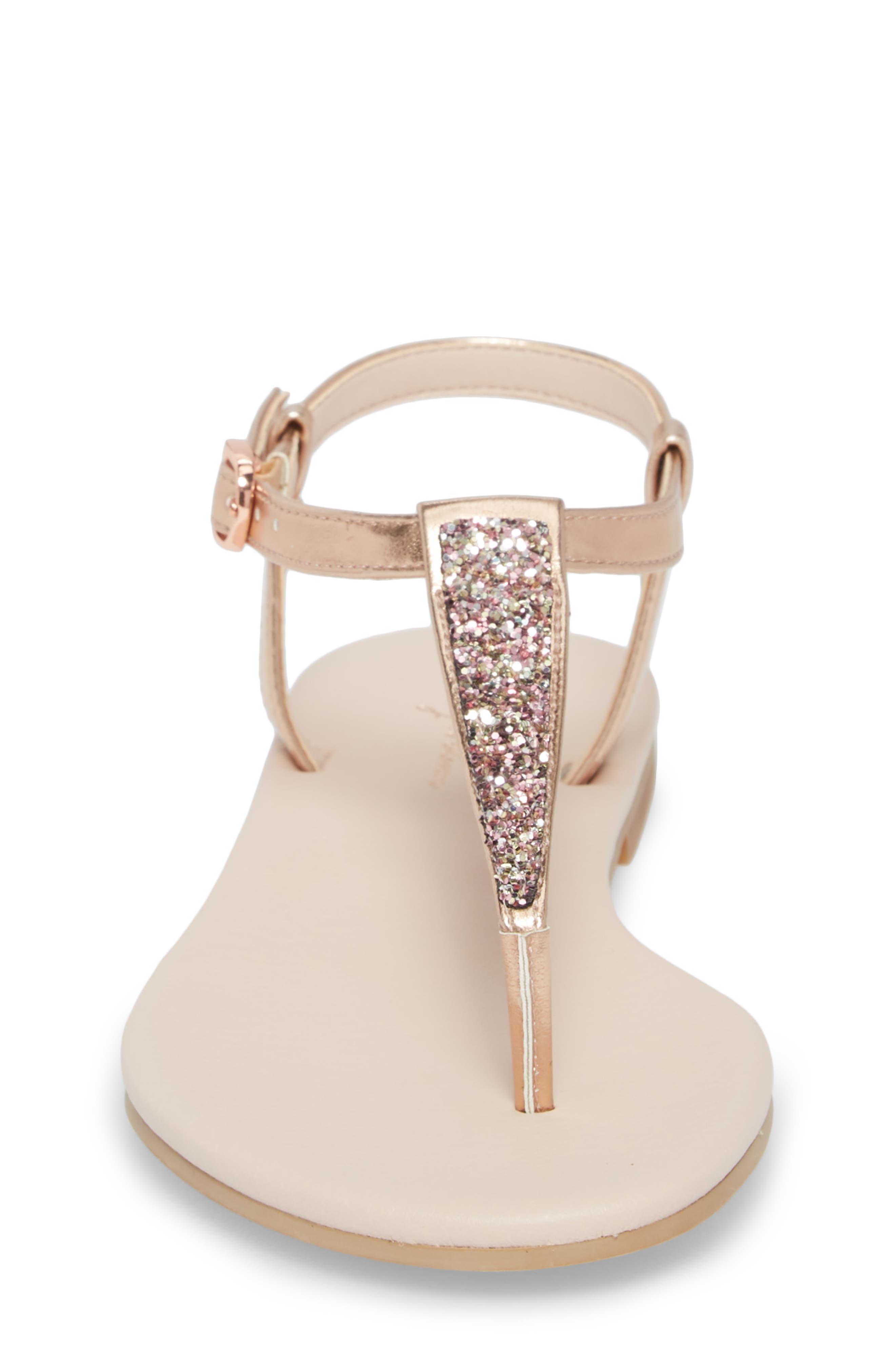 Noe Glitter T-Strap Sandal Sandal,                             Alternate thumbnail 4, color,                             ROSE GOLD FAUX LEA