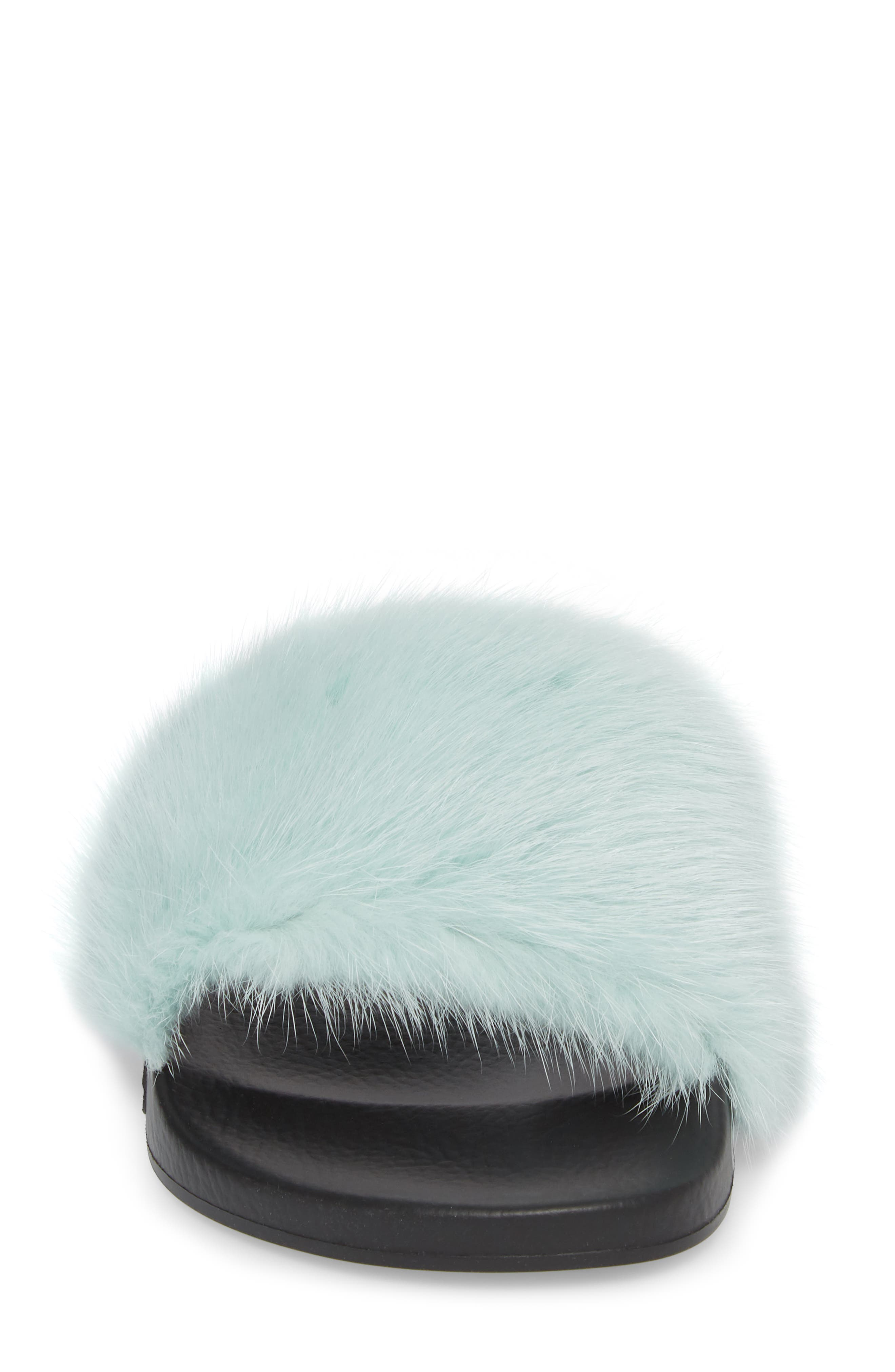 Genuine Mink Fur Slide Sandal,                             Alternate thumbnail 4, color,                             423