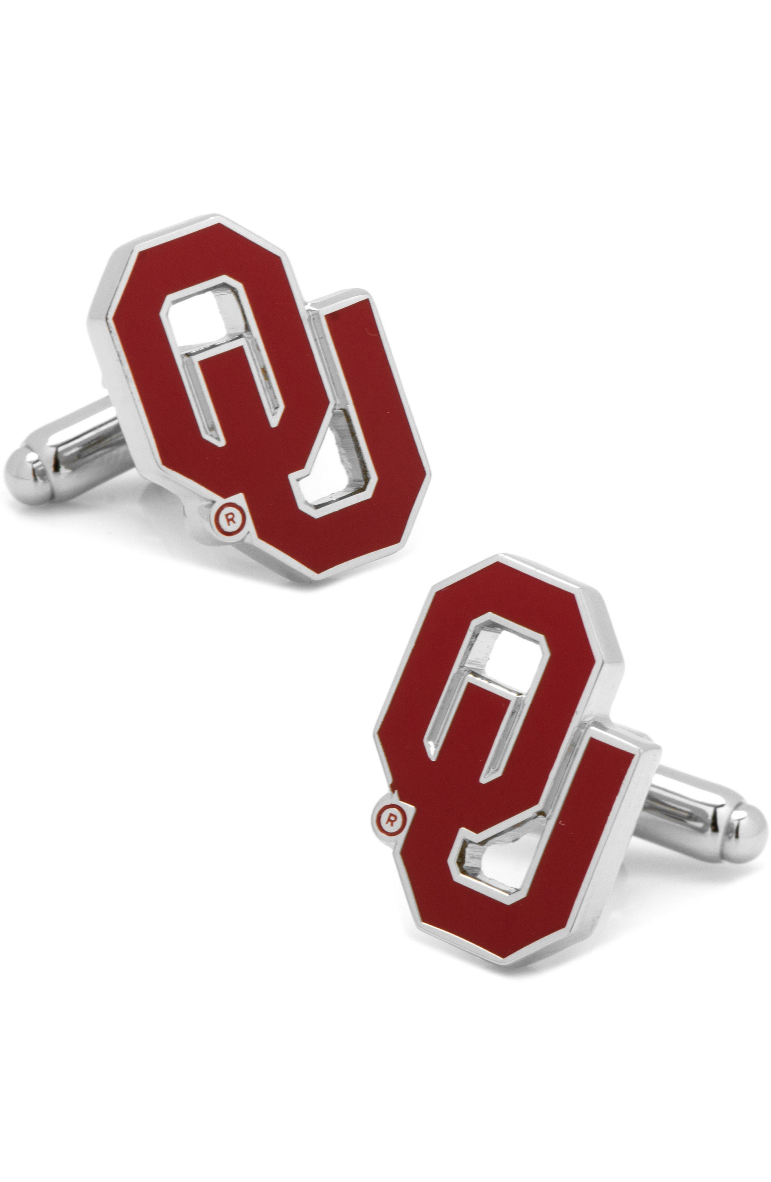 'Oklahoma Sooners' Cuff Links,                             Main thumbnail 1, color,                             RED/ SILVER