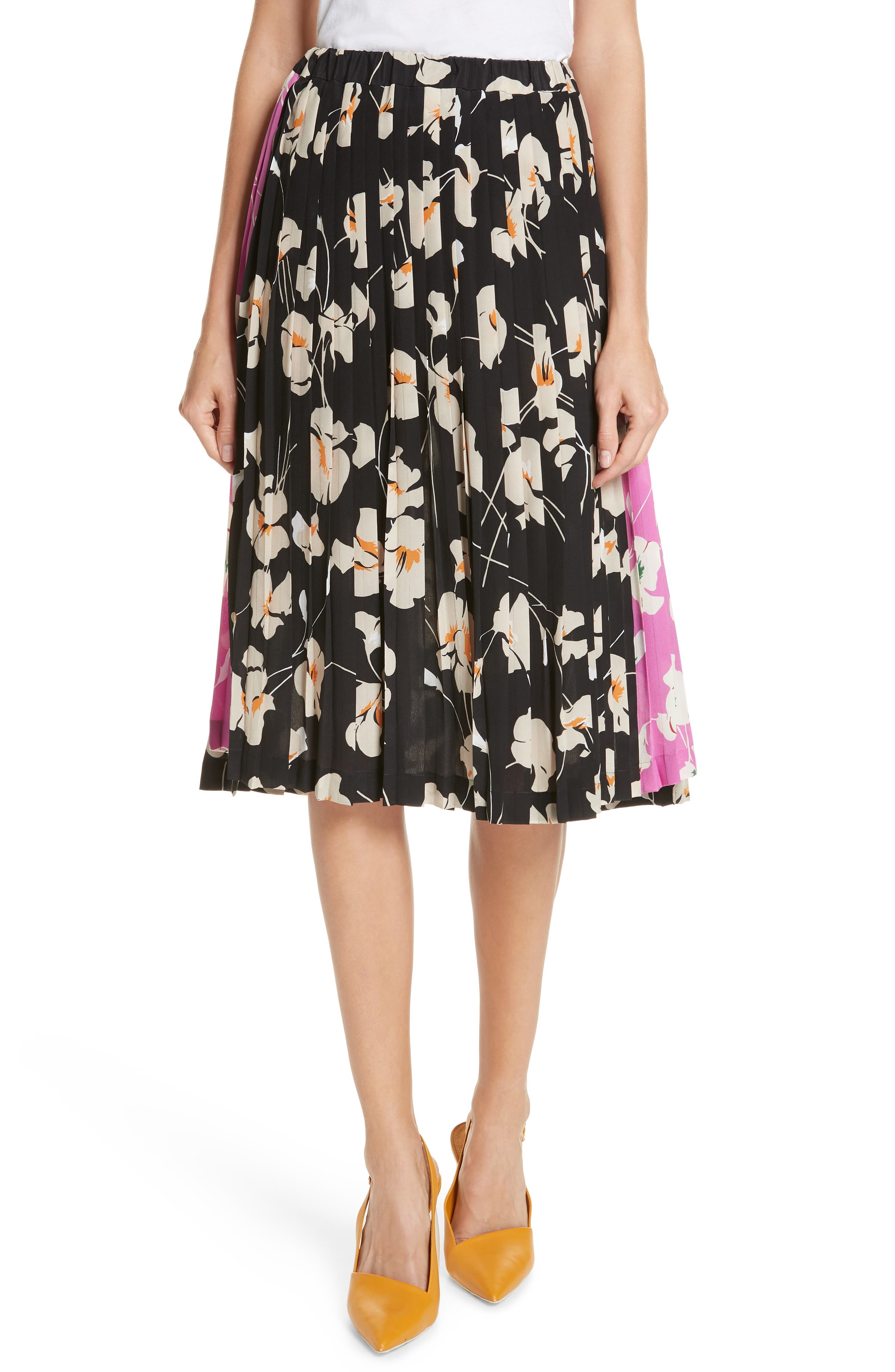 N°21 Nº21 Contrast Panel Floral Print Silk Skirt, Main, color, STAMPA FONDO NERO