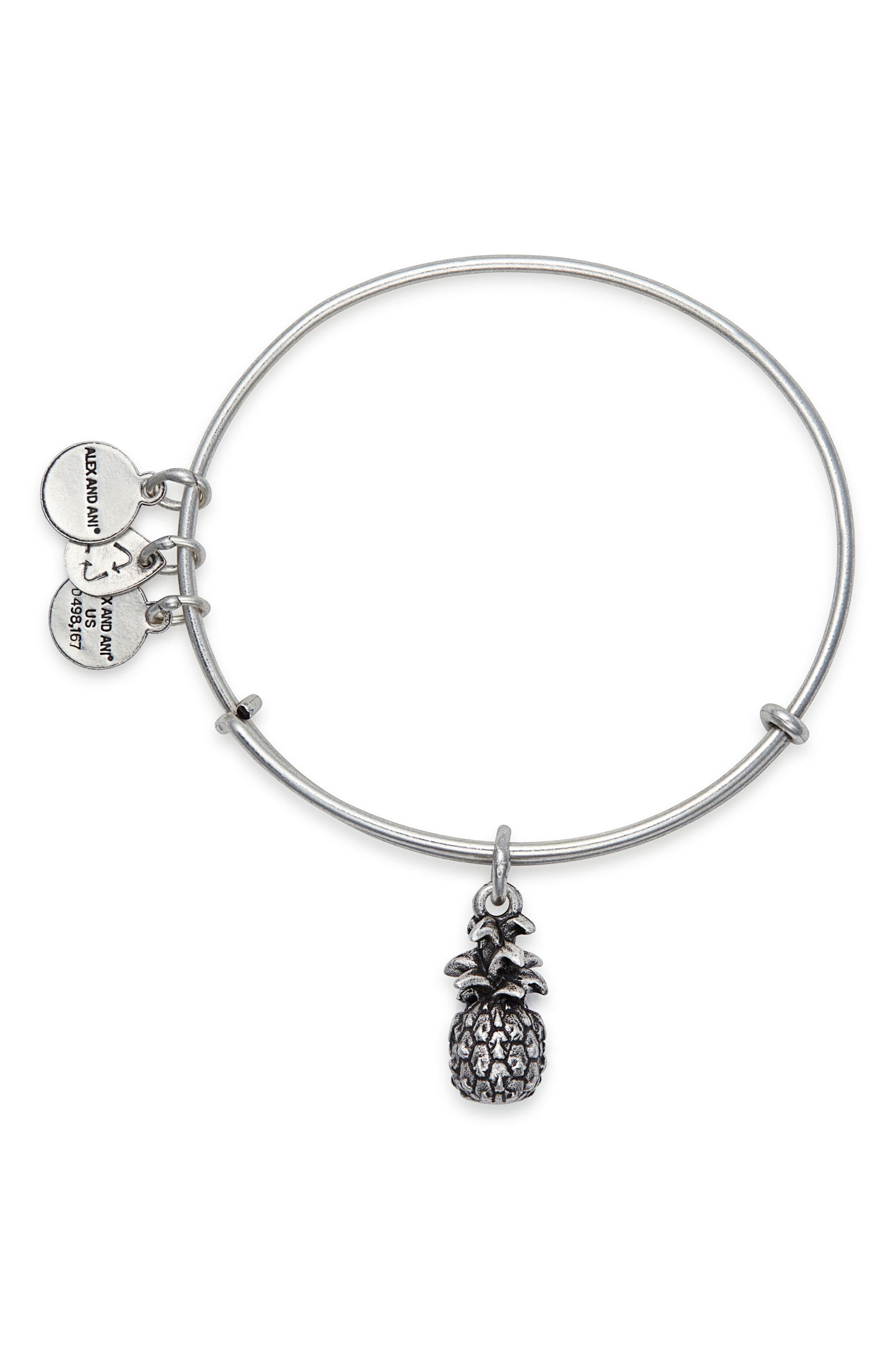 Pineapple Adjustable Wire Bangle,                             Alternate thumbnail 2, color,                             RUSSIAN SILVER