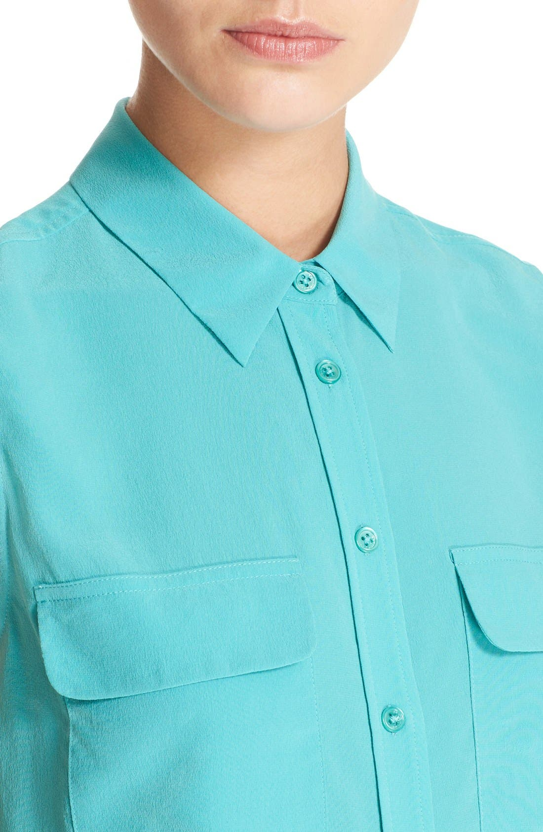 'Slim Signature' Sleeveless Silk Shirt,                             Alternate thumbnail 156, color,