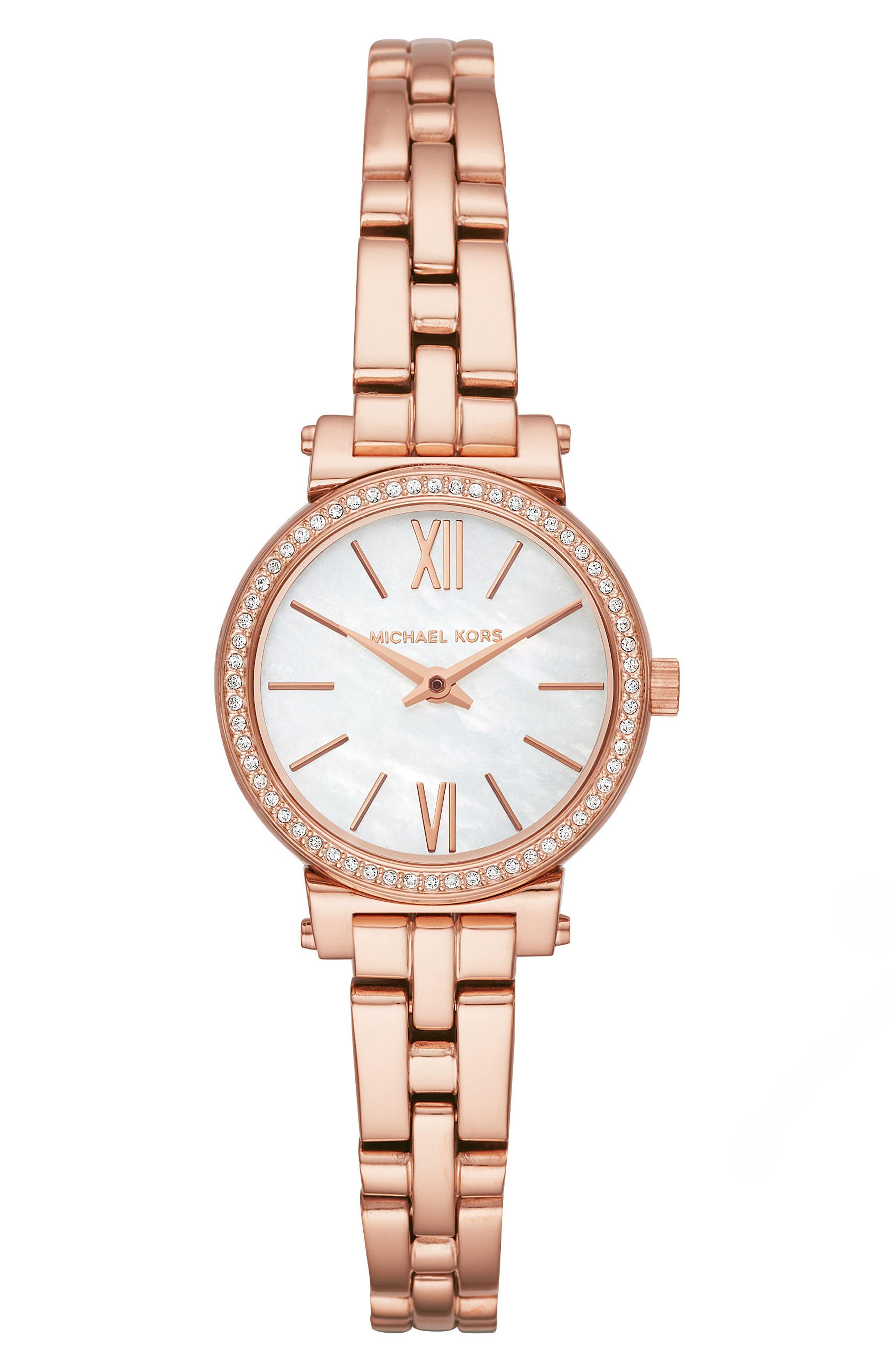 Sofie Bracelet Watch, 26mm, Main, color, ROSE GOLD/ MOP/ ROSE GOLD