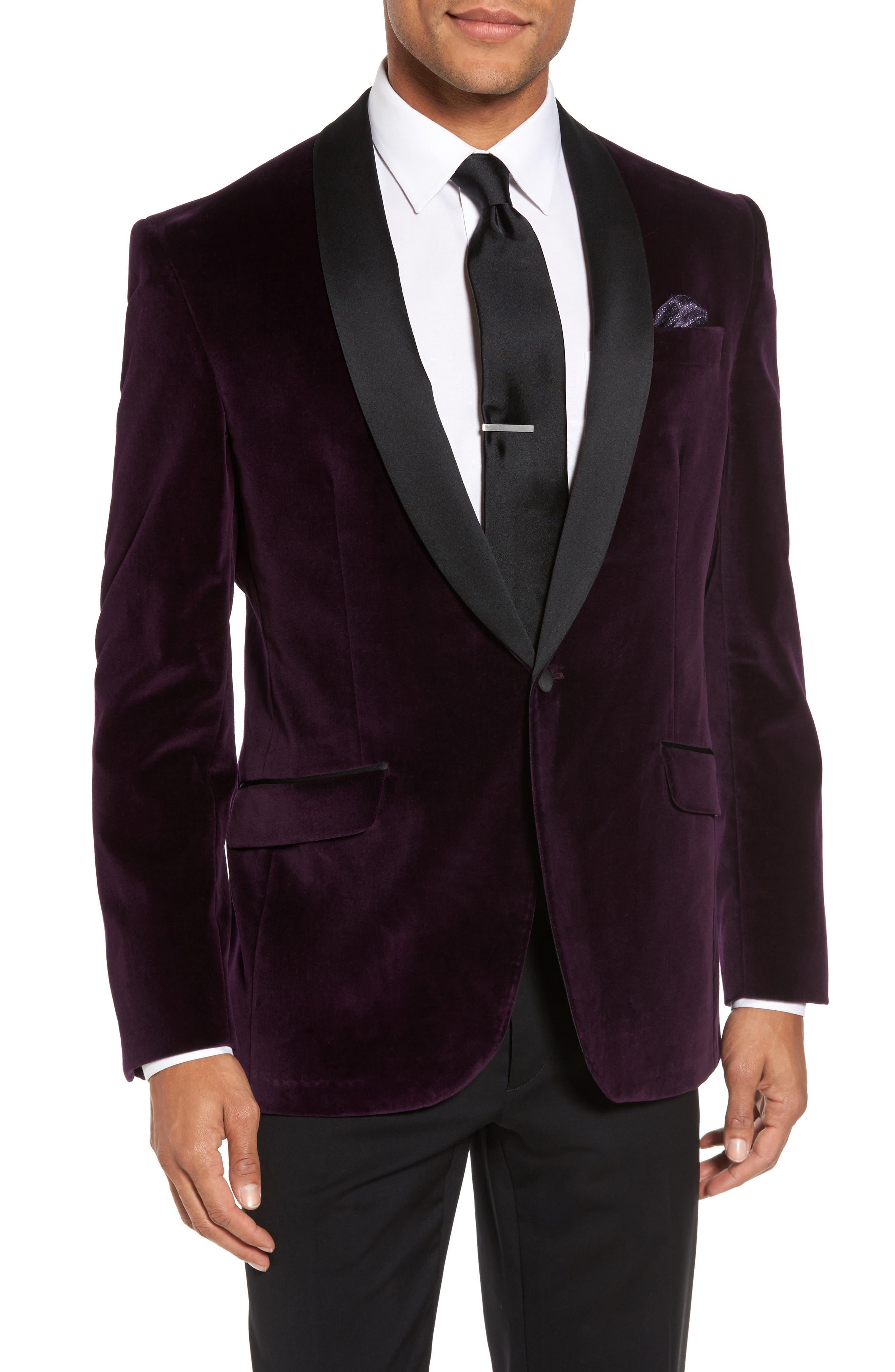 Josh Trim Fit Velvet Dinner Jacket,                         Main,                         color, PURPLE