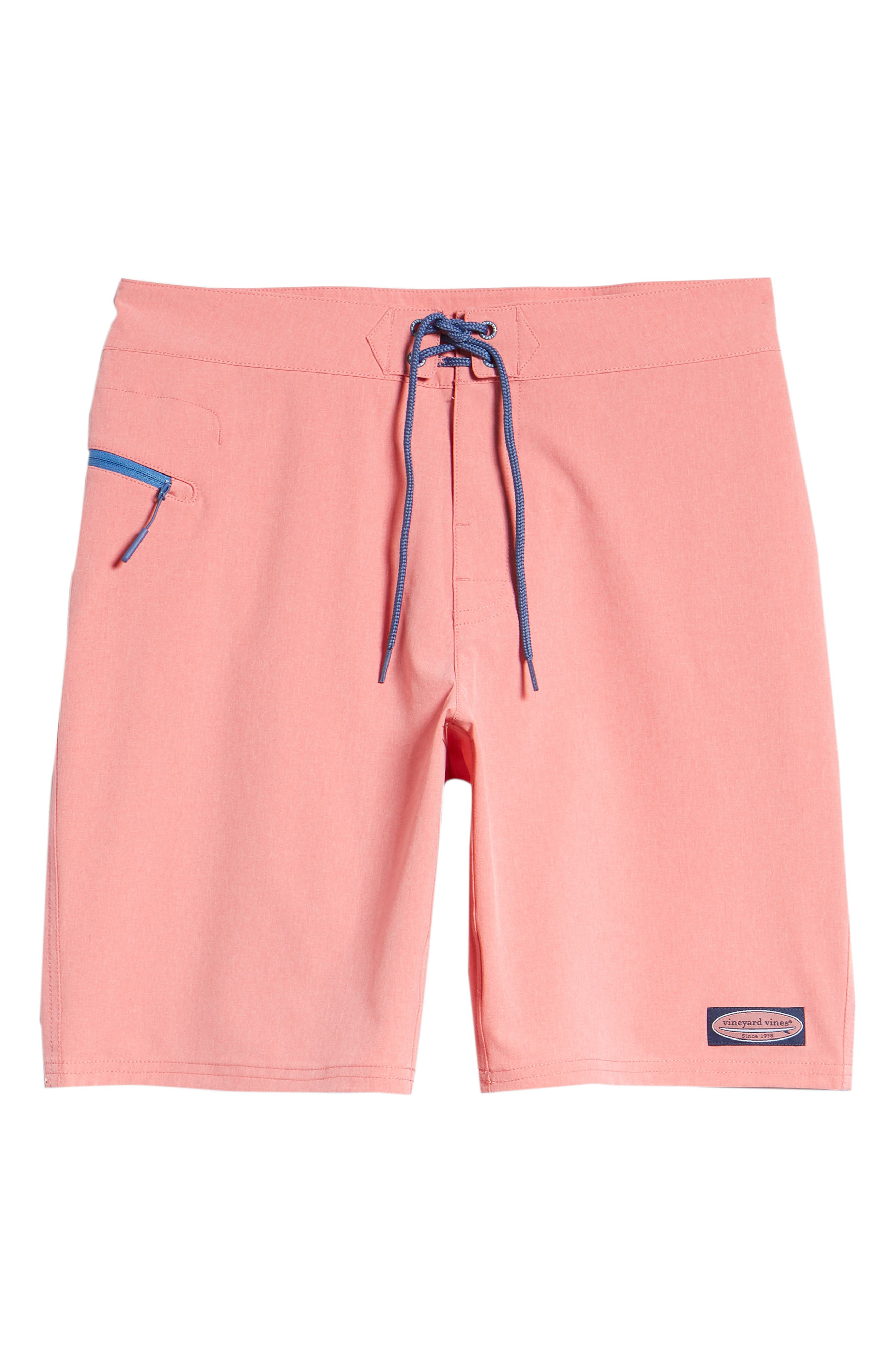 Heather Stretch Board Shorts,                             Alternate thumbnail 6, color,                             LOBSTER REEF