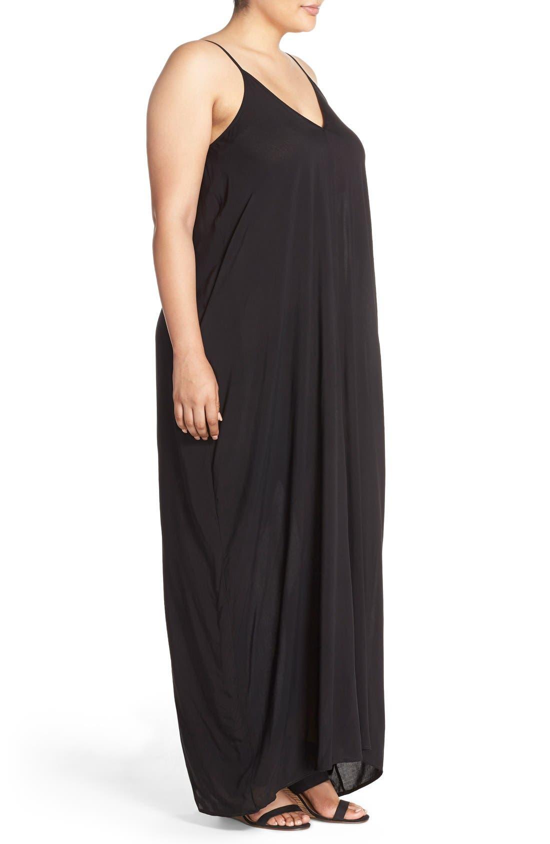 Cover-Up Maxi Dress,                             Alternate thumbnail 9, color,                             BLACK