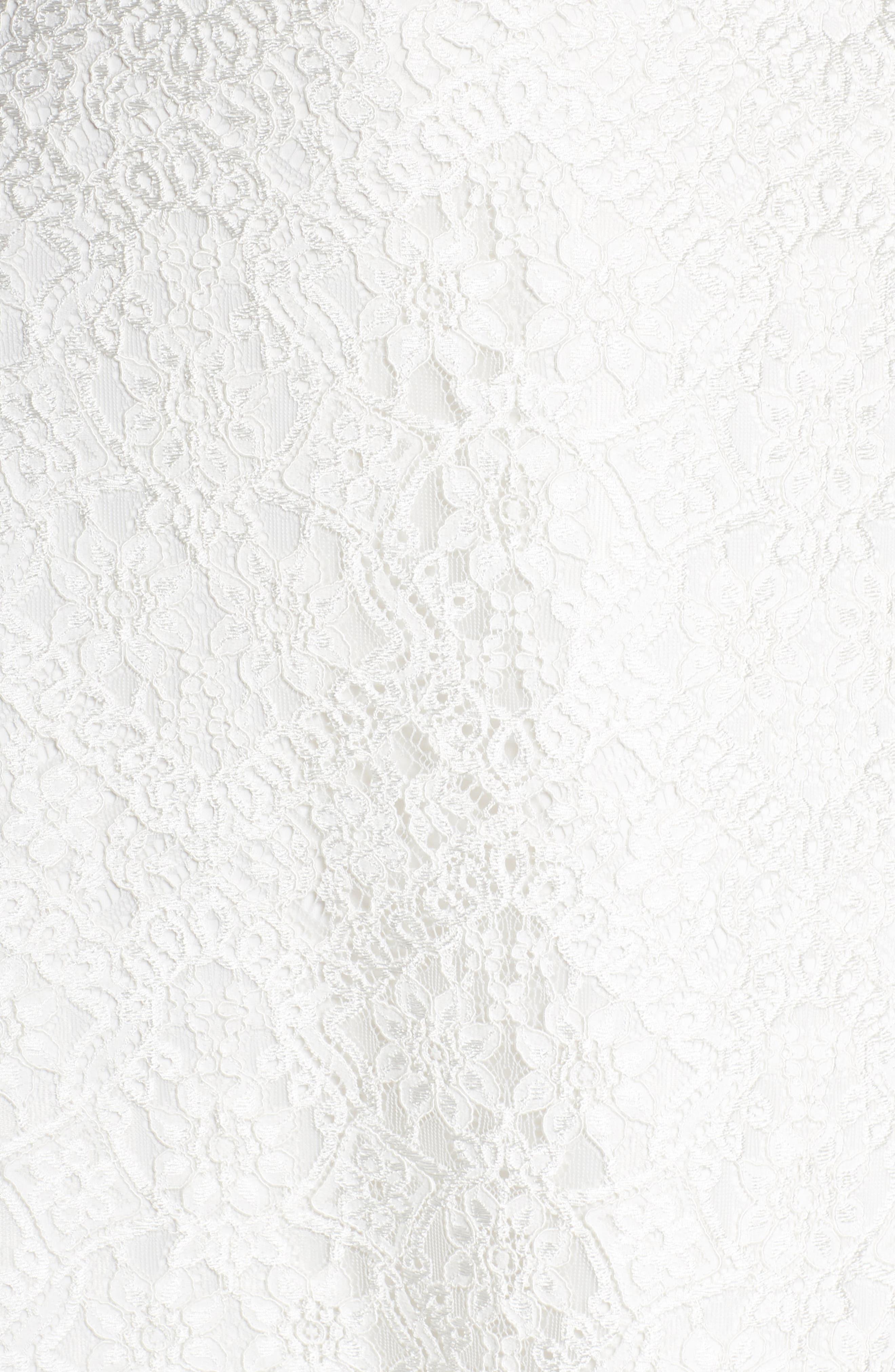 Chiffon Sash Scalloped Lace Gown,                             Alternate thumbnail 5, color,                             900