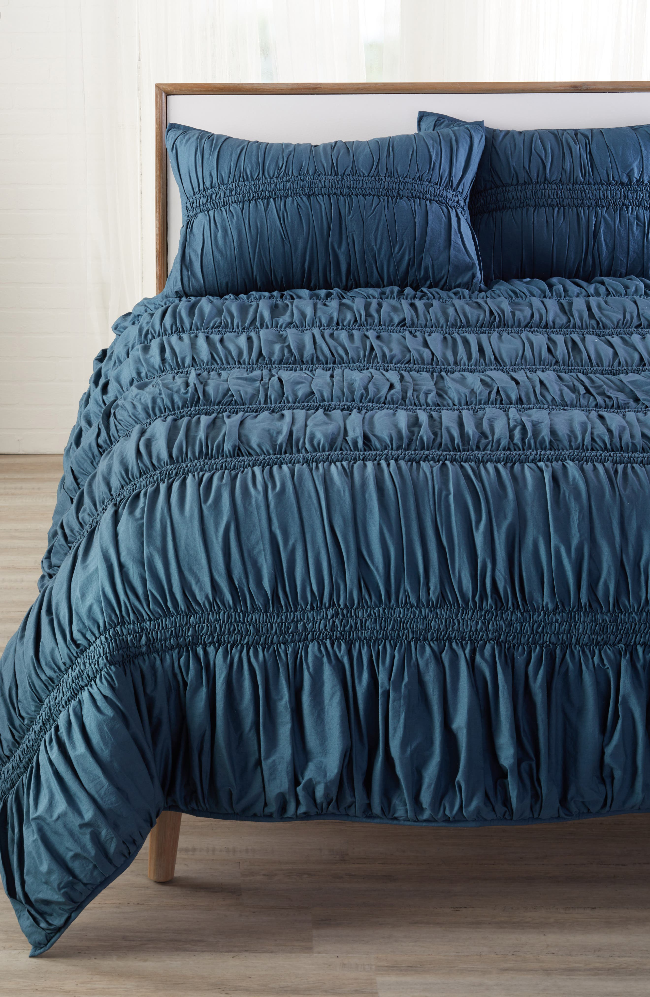 Solid Ruched Comforter,                             Main thumbnail 1, color,                             TEAL GAZER