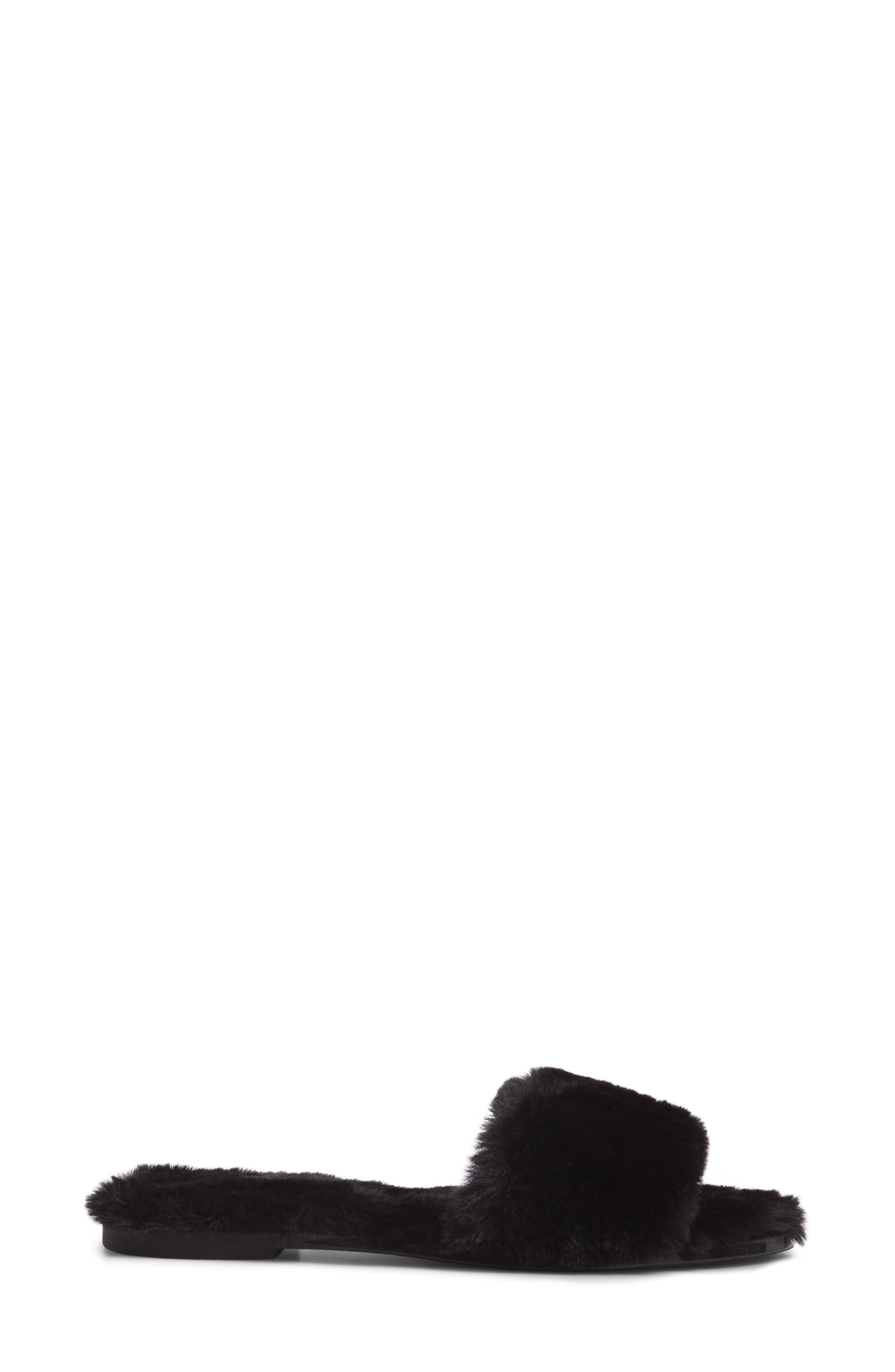Mulholland Faux Fur Slide Sandal,                             Alternate thumbnail 3, color,                             001