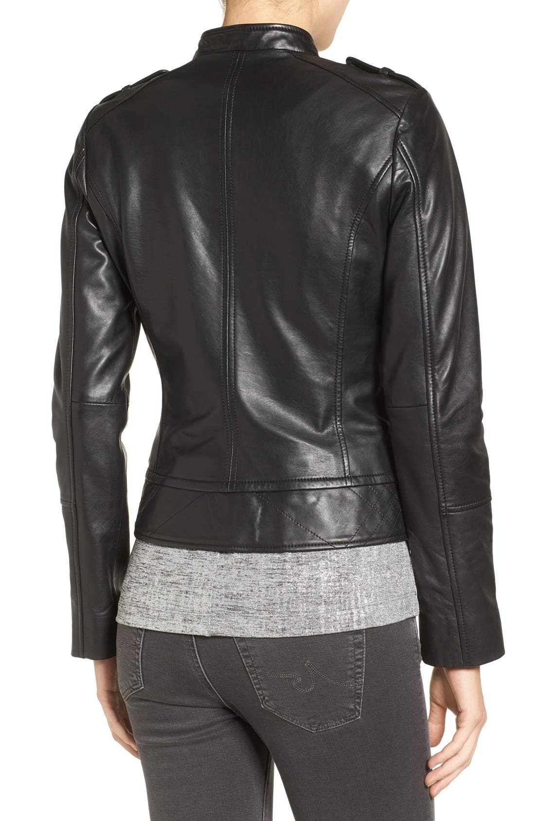 Slim Fit Leather Moto Jacket,                             Alternate thumbnail 3, color,                             001