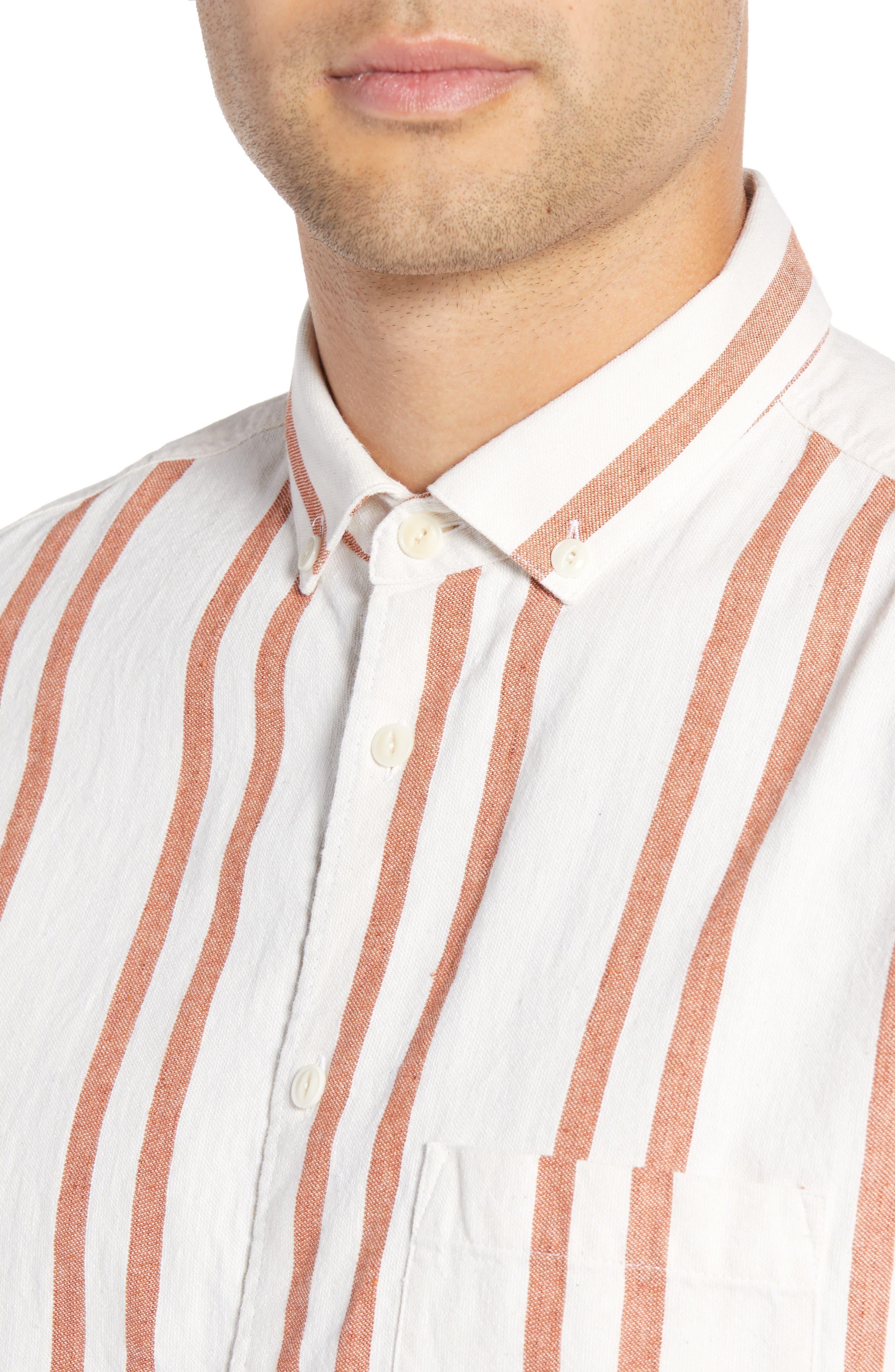 Dean Regular Fit Stripe Sport Shirt,                             Alternate thumbnail 4, color,                             ORANGE