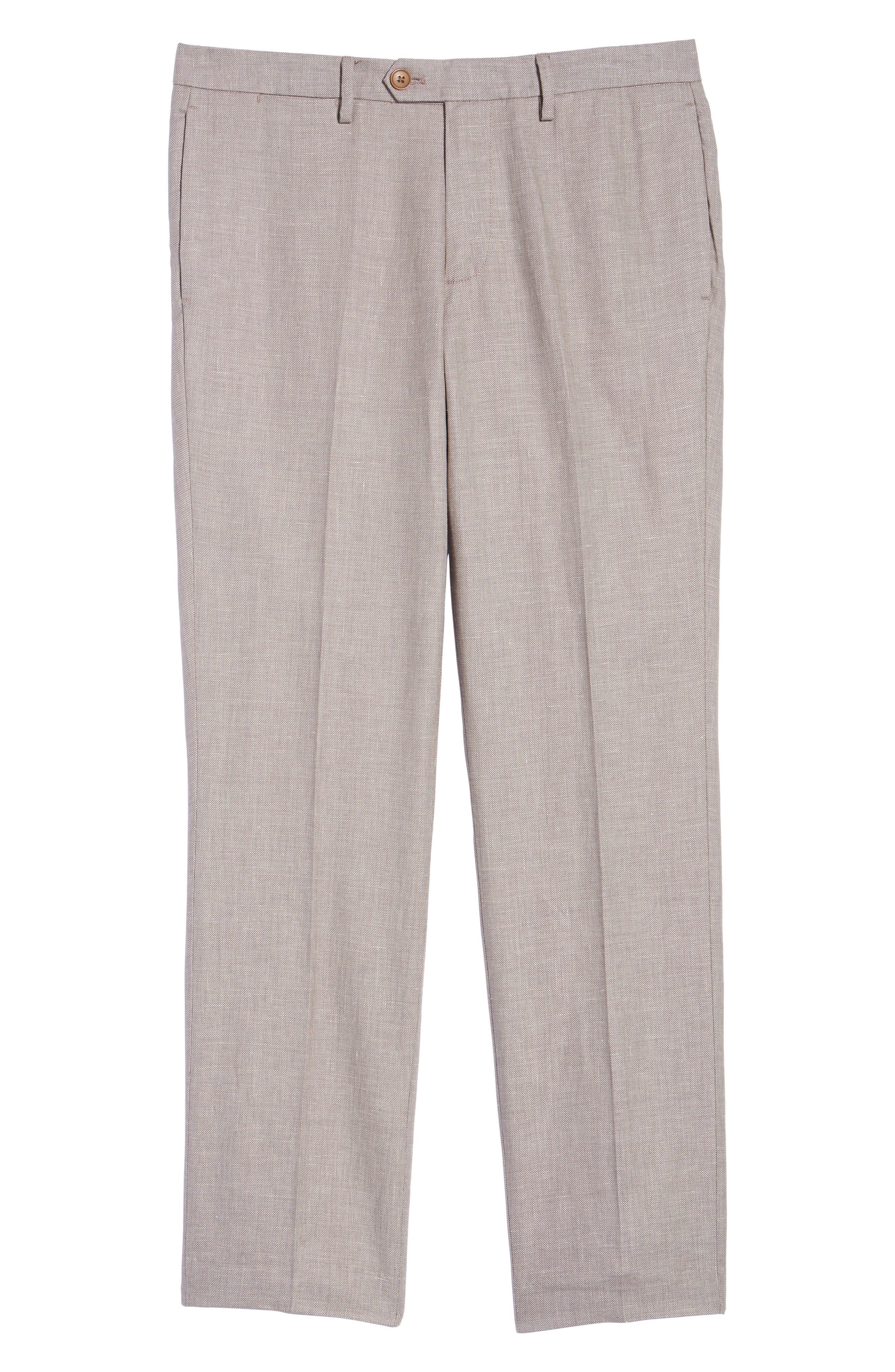 Flat Front Solid Stretch Cotton & Linen Pants,                             Alternate thumbnail 12, color,