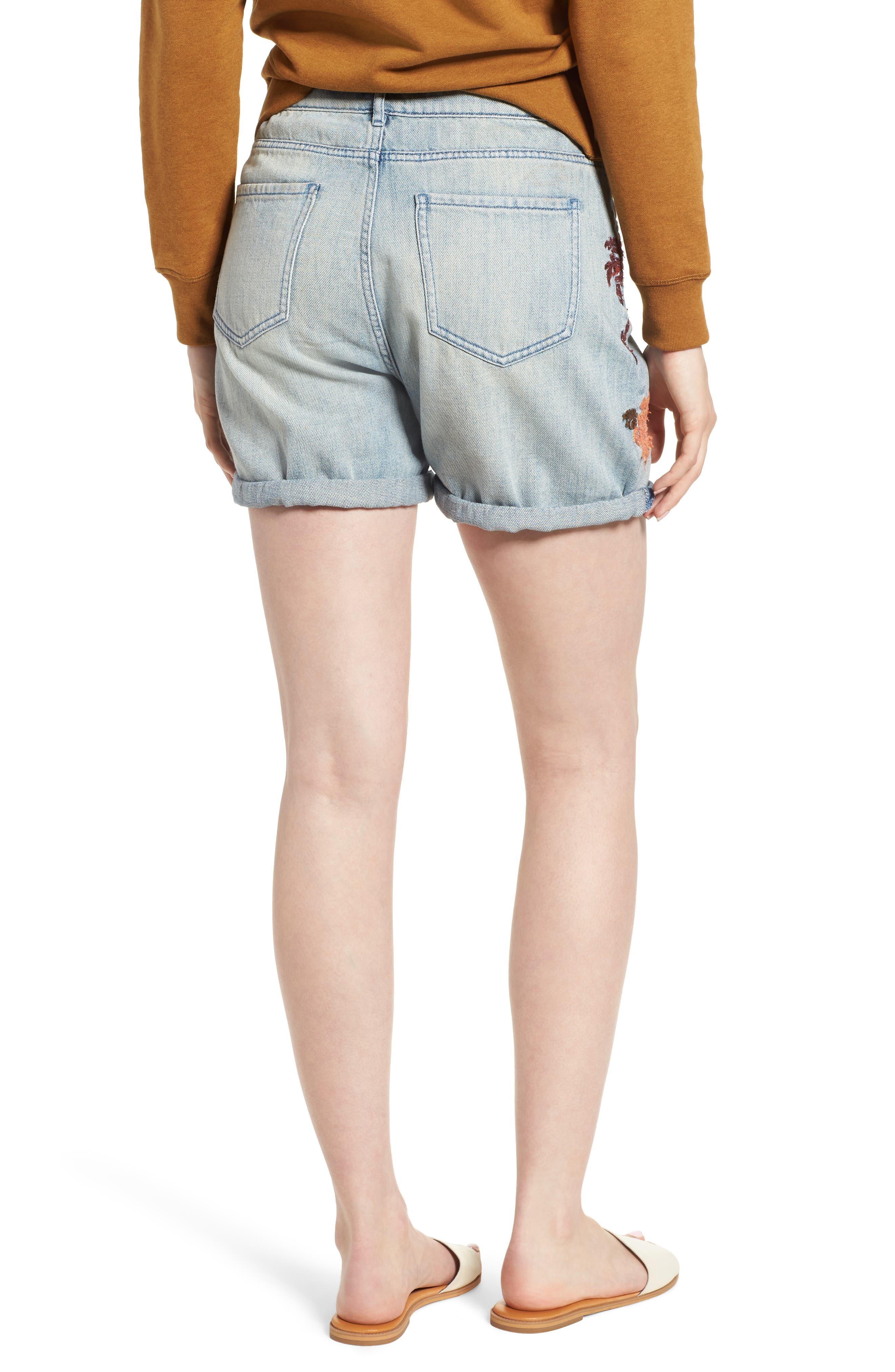Embroidered Boyfriend Denim Shorts,                             Alternate thumbnail 2, color,                             420