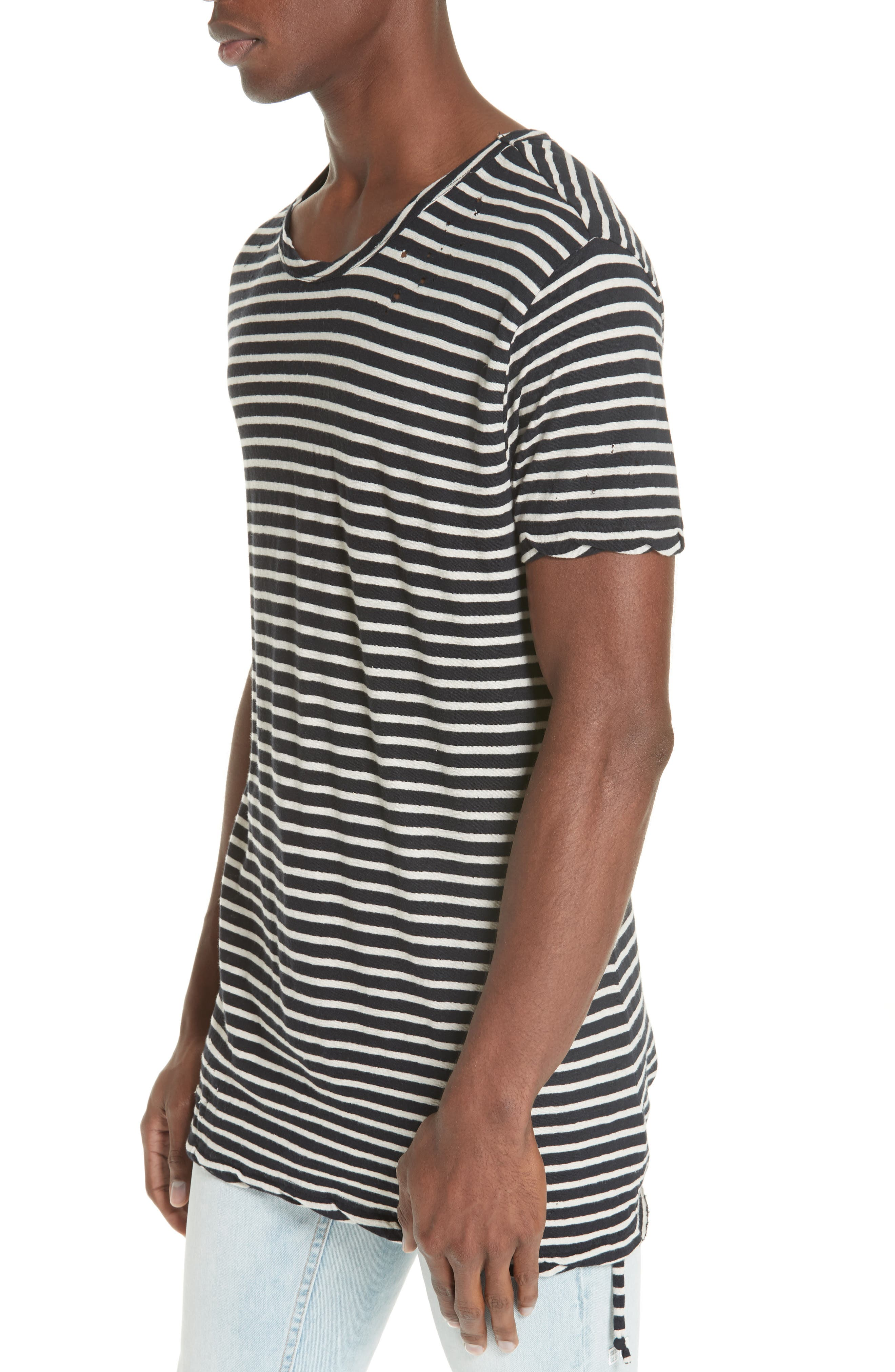 Sinister Distressed Stripe T-Shirt,                             Alternate thumbnail 4, color,                             960
