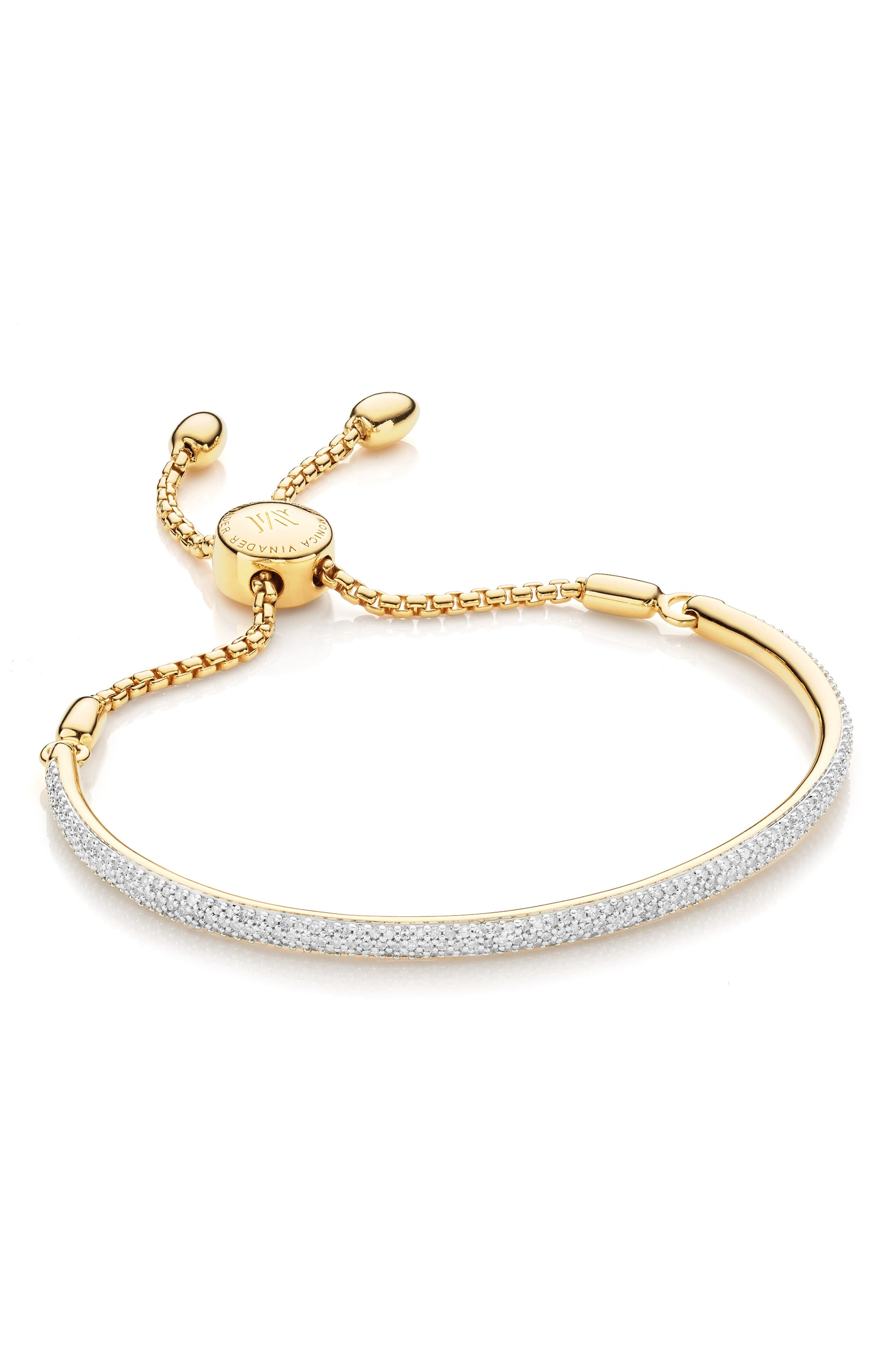 Fiji Diamond Pavé Toggle Petite Bracelet, Main, color, YELLOW GOLD