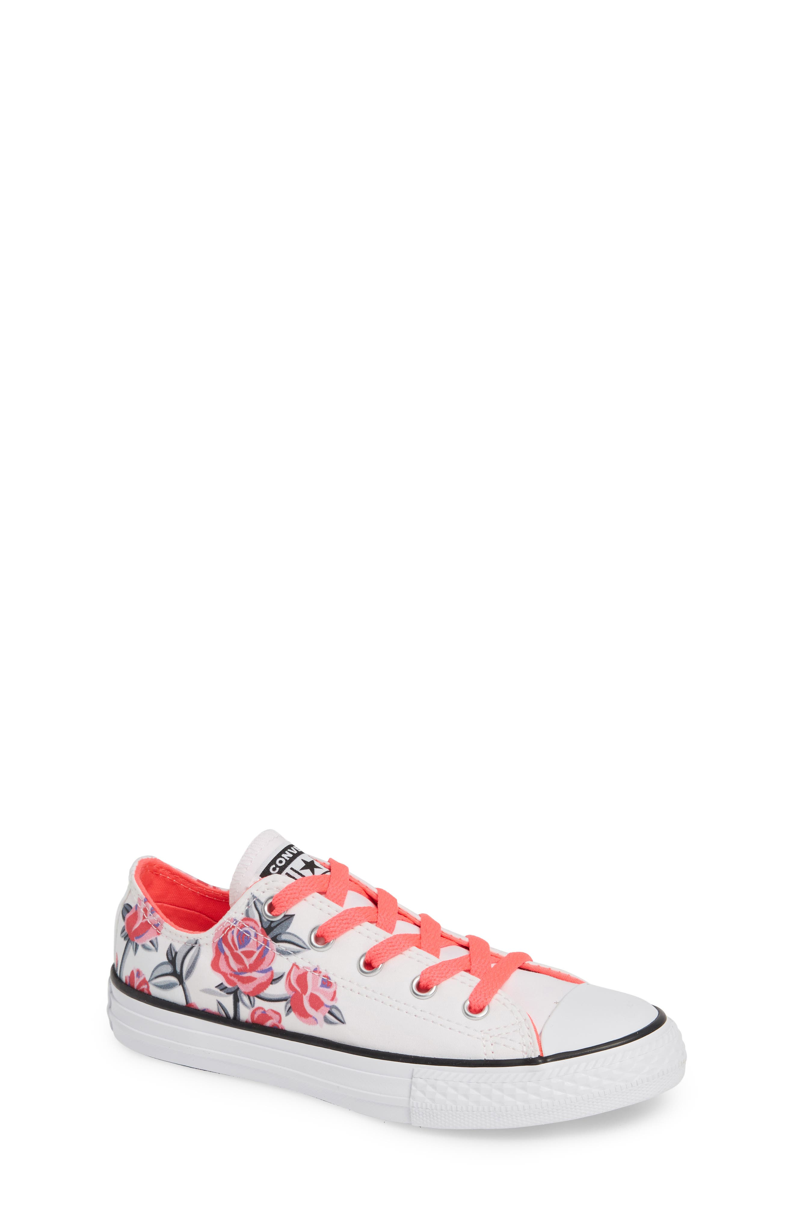 Chuck Taylor<sup>®</sup> All Star<sup>®</sup> Low Top Sneaker,                             Main thumbnail 1, color,                             WHITE/ RACER PINK/ BLACK