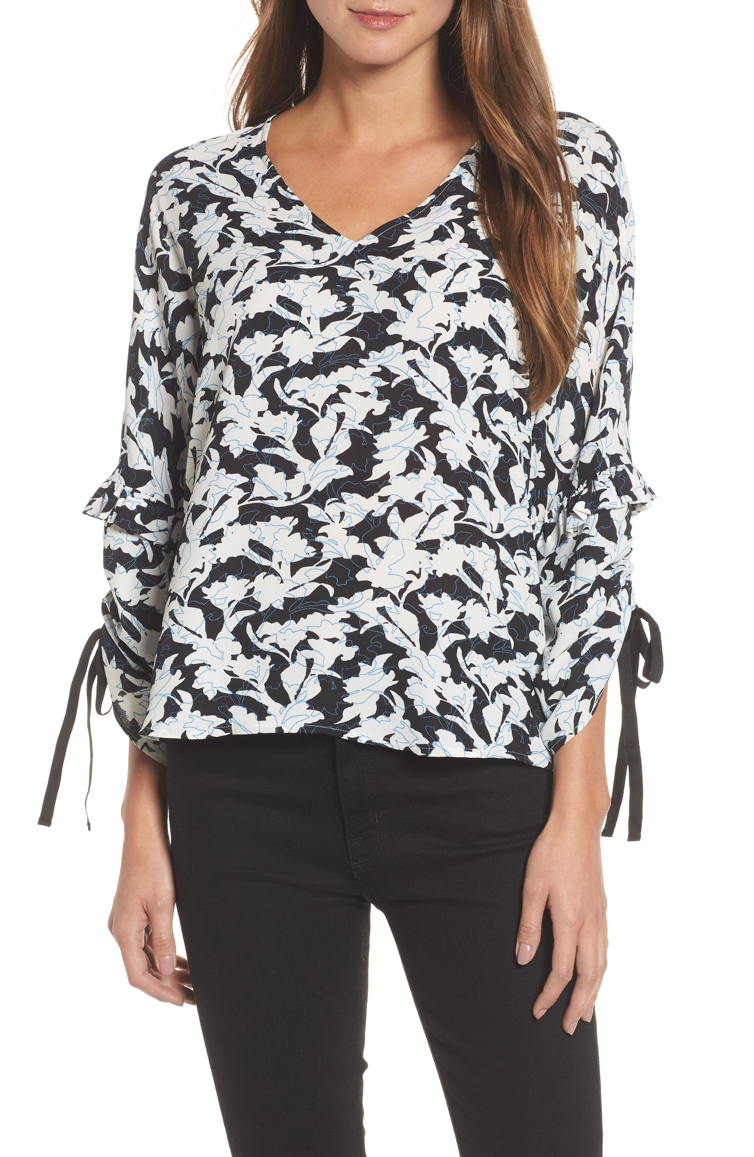 Ruched Tie Sleeve Top,                             Main thumbnail 1, color,                             001