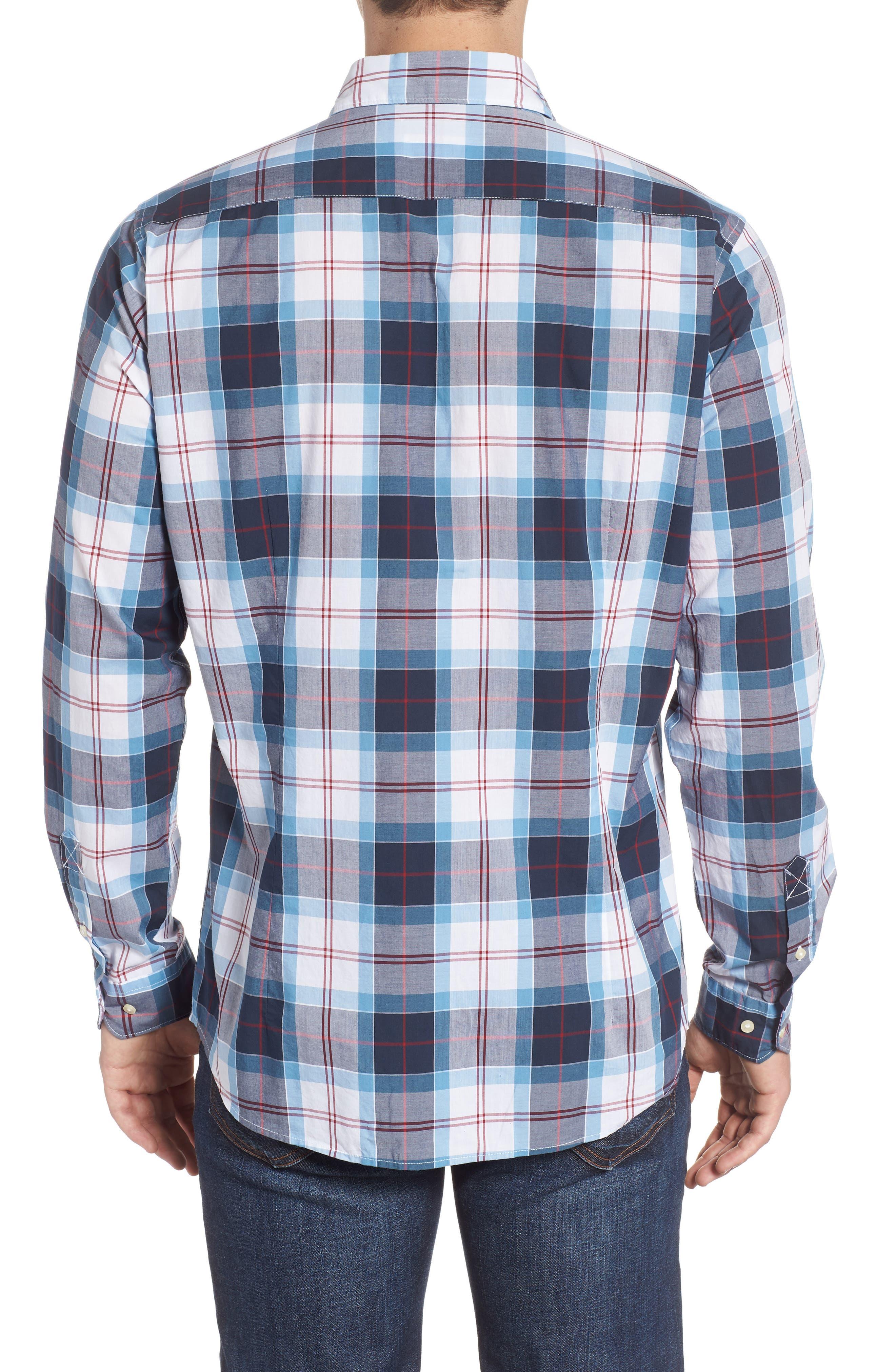 Cabin Tailored Fit Plaid Sport Shirt,                             Alternate thumbnail 3, color,                             MID BLUE