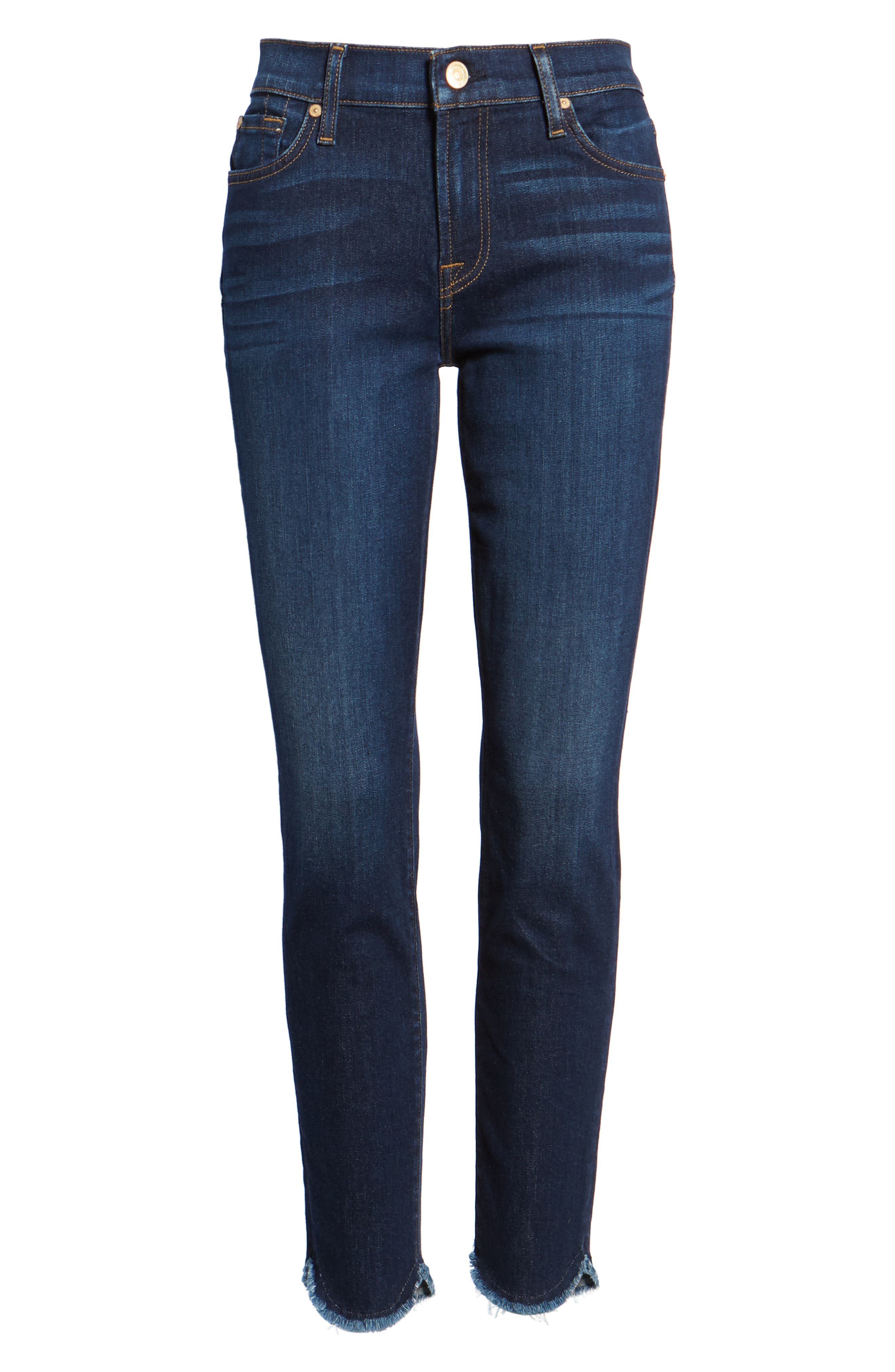 Scallop Hem Ankle Skinny Jeans,                             Alternate thumbnail 7, color,                             MIDNIGHT MOON