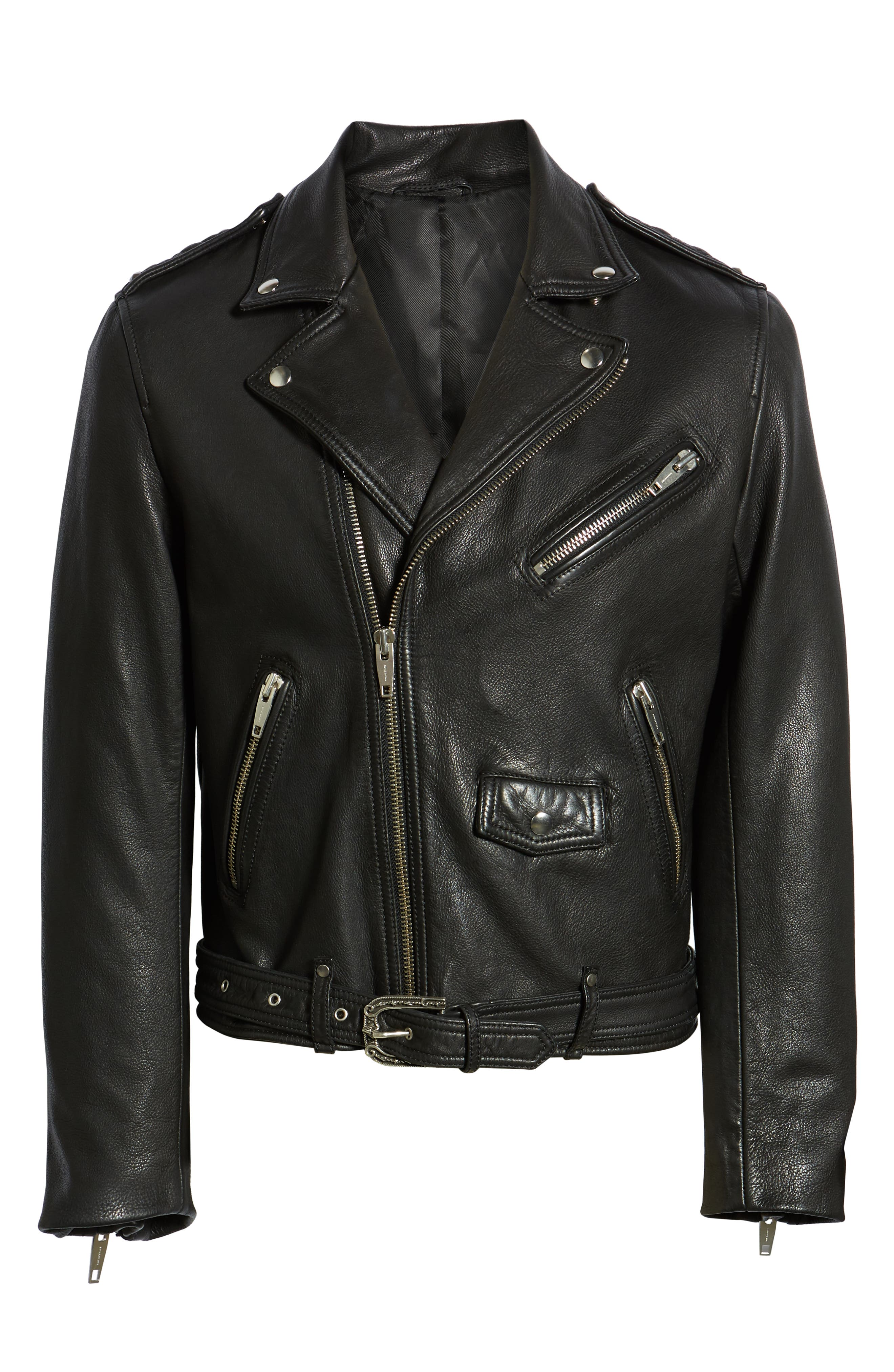 Leather Biker Jacket,                             Alternate thumbnail 6, color,                             BLACK