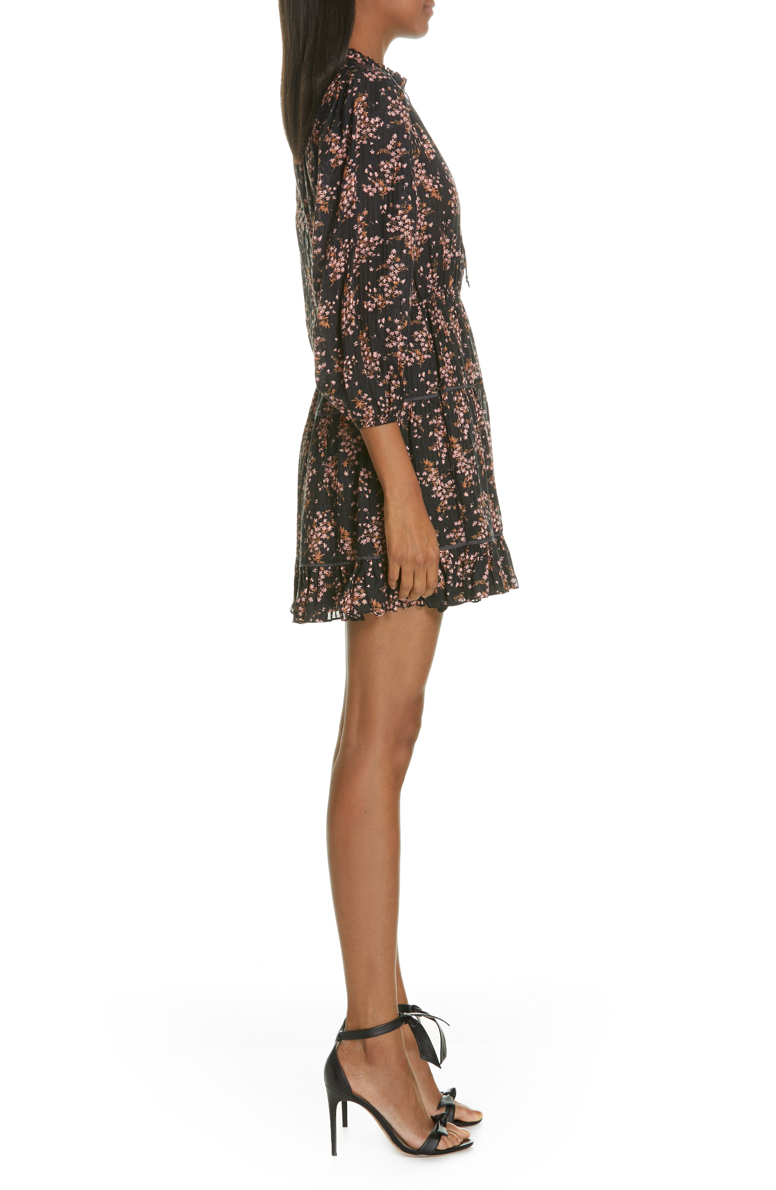 ULLA JOHNSON,                             Brienne Floral Print Cotton & Silk Minidress,                             Alternate thumbnail 3, color,                             JET