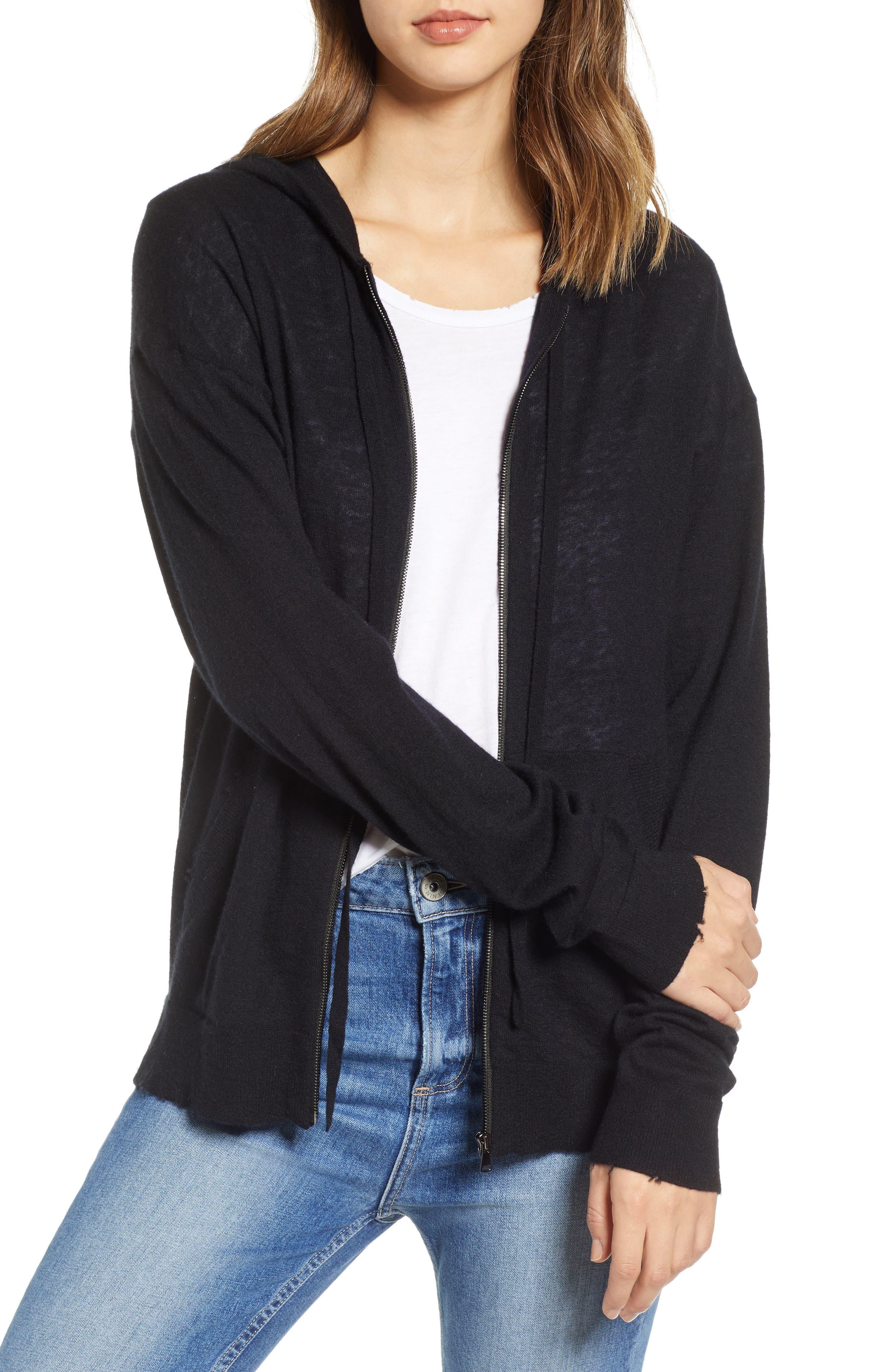 ZADIG & VOLTAIRE Sixtine Bis Cashmere Zip Sweater Hoodie, Main, color, 001