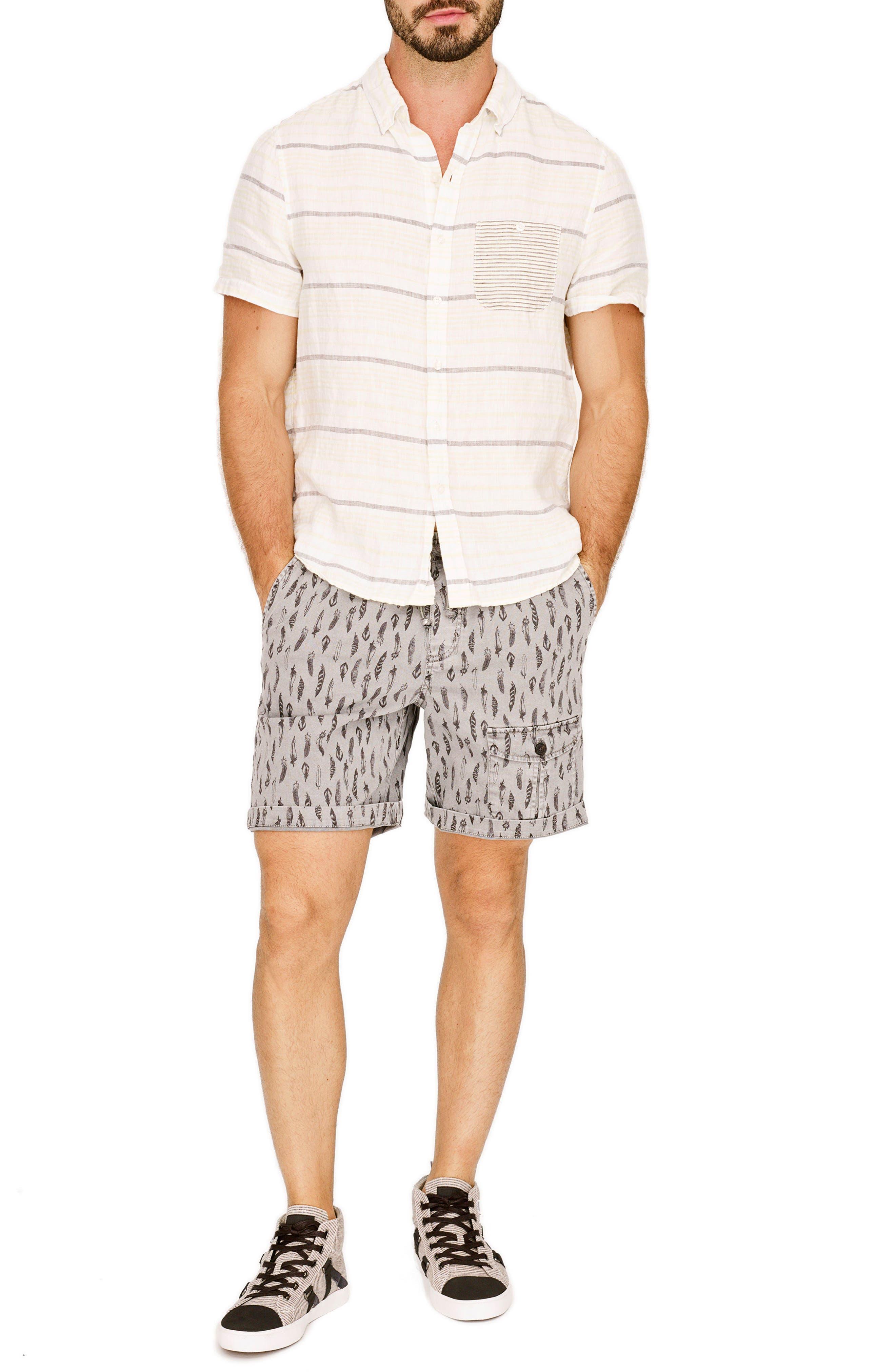 Stripe Linen Sport Shirt,                             Alternate thumbnail 7, color,                             740
