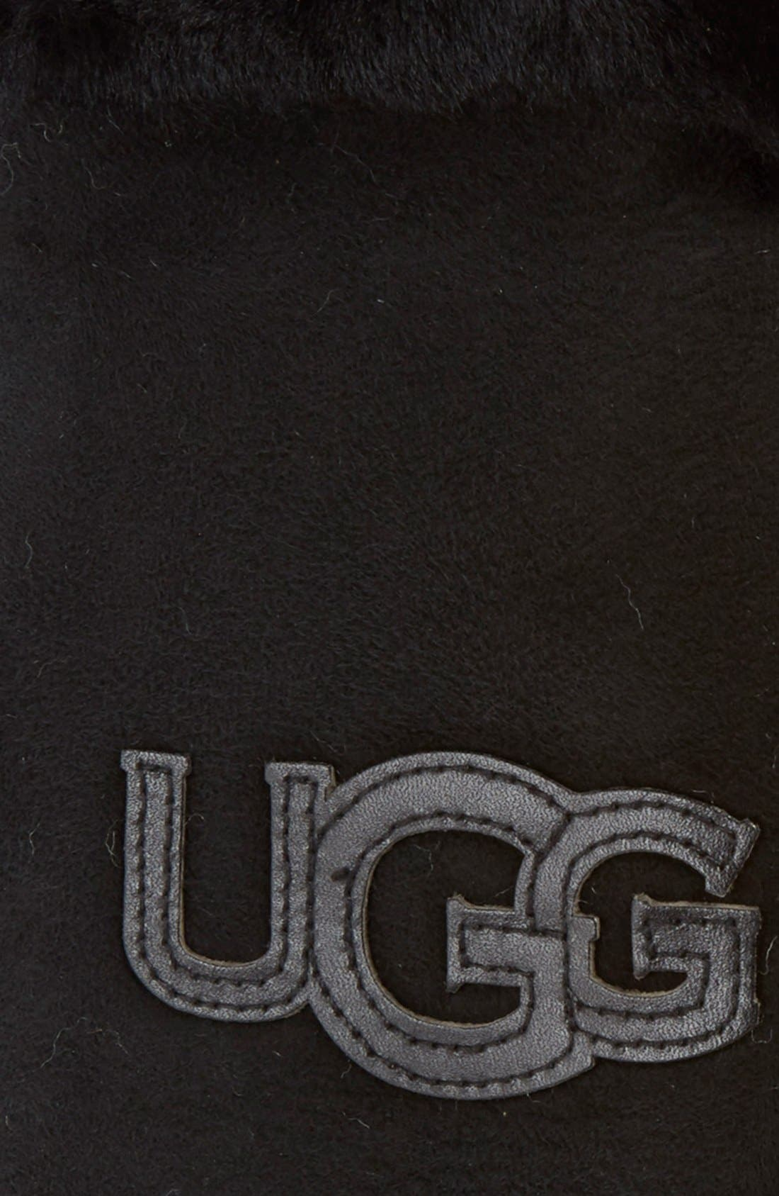 UGG<SUP>®</SUP>,                             Australia 'Heritage Logo' Genuine Shearling & Suede Mittens,                             Alternate thumbnail 4, color,                             001