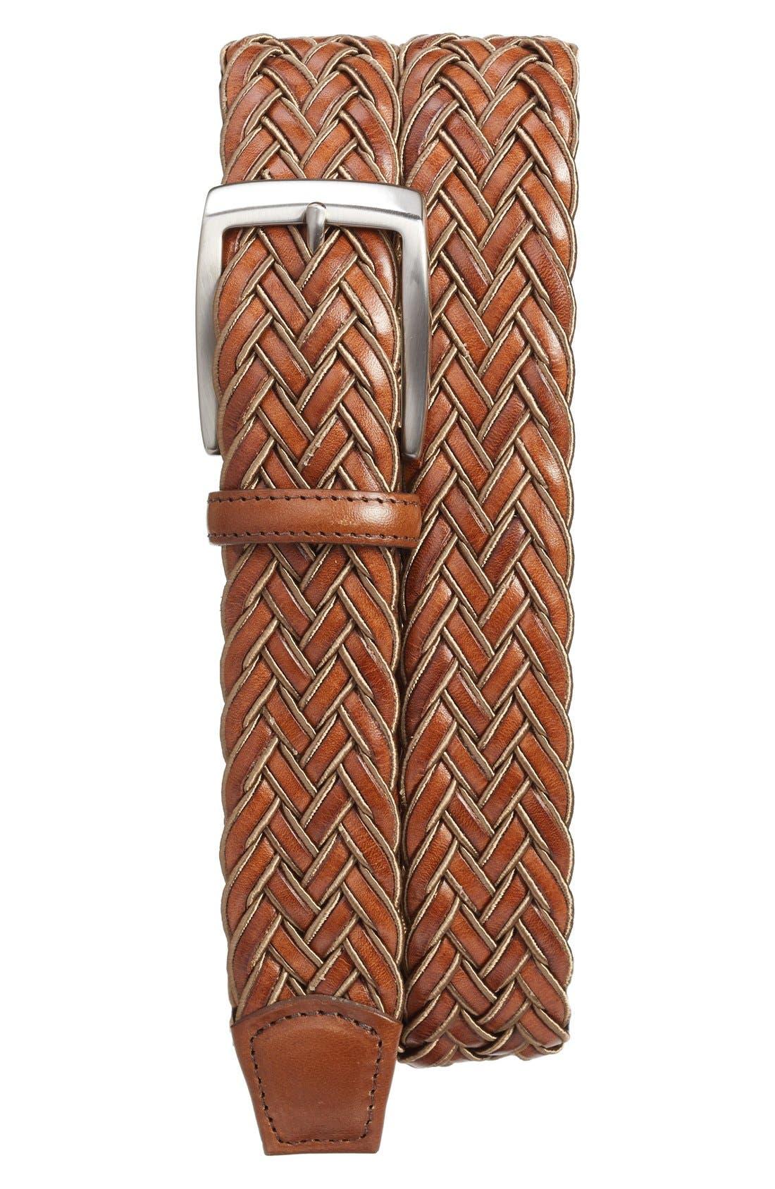 Braided Belt,                             Main thumbnail 1, color,                             TAN/ COGNAC
