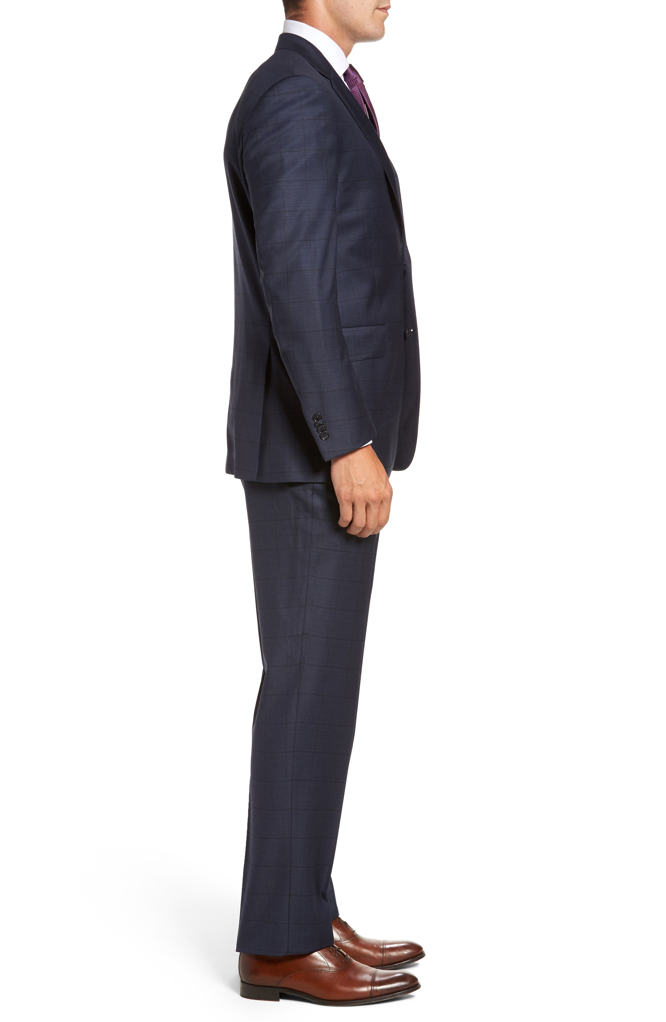 Flynn Classic Fit Windowpane Wool Suit,                             Alternate thumbnail 3, color,                             410