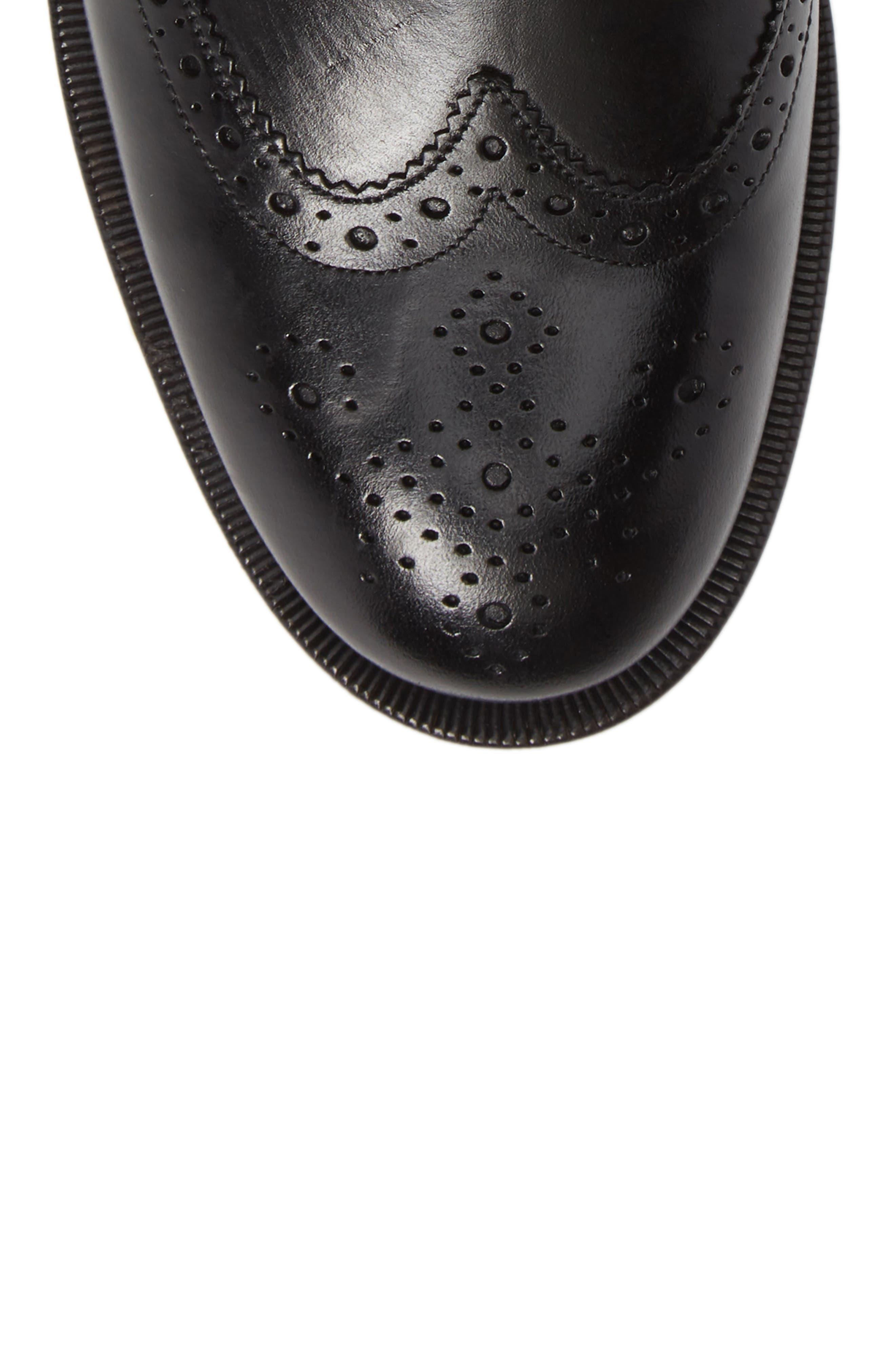 Camheri Wingtip Chelsea Boot,                             Alternate thumbnail 5, color,                             BLACK LEATHER
