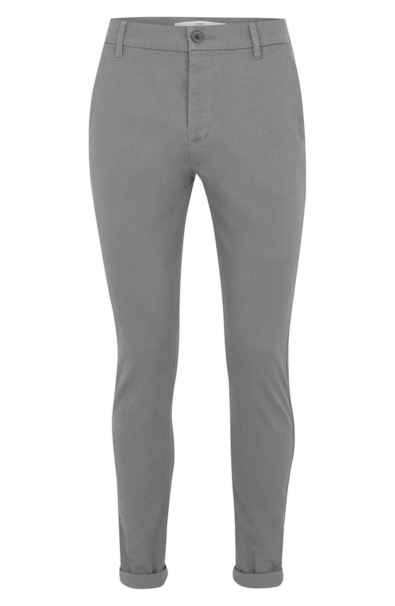 Stretch Skinny Fit Chinos,                             Alternate thumbnail 4, color,                             GREY