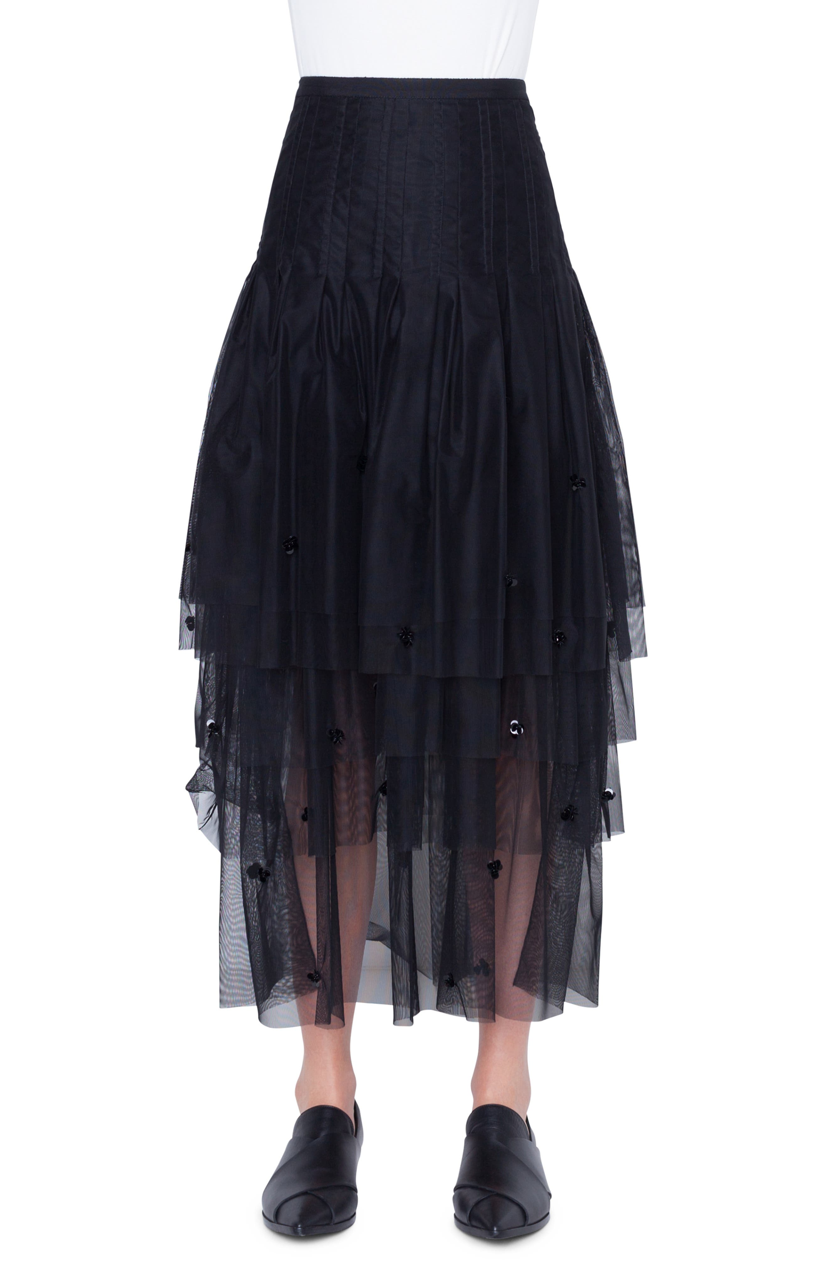 3D Sequin Tulle Maxi Skirt,                             Main thumbnail 1, color,                             NERO