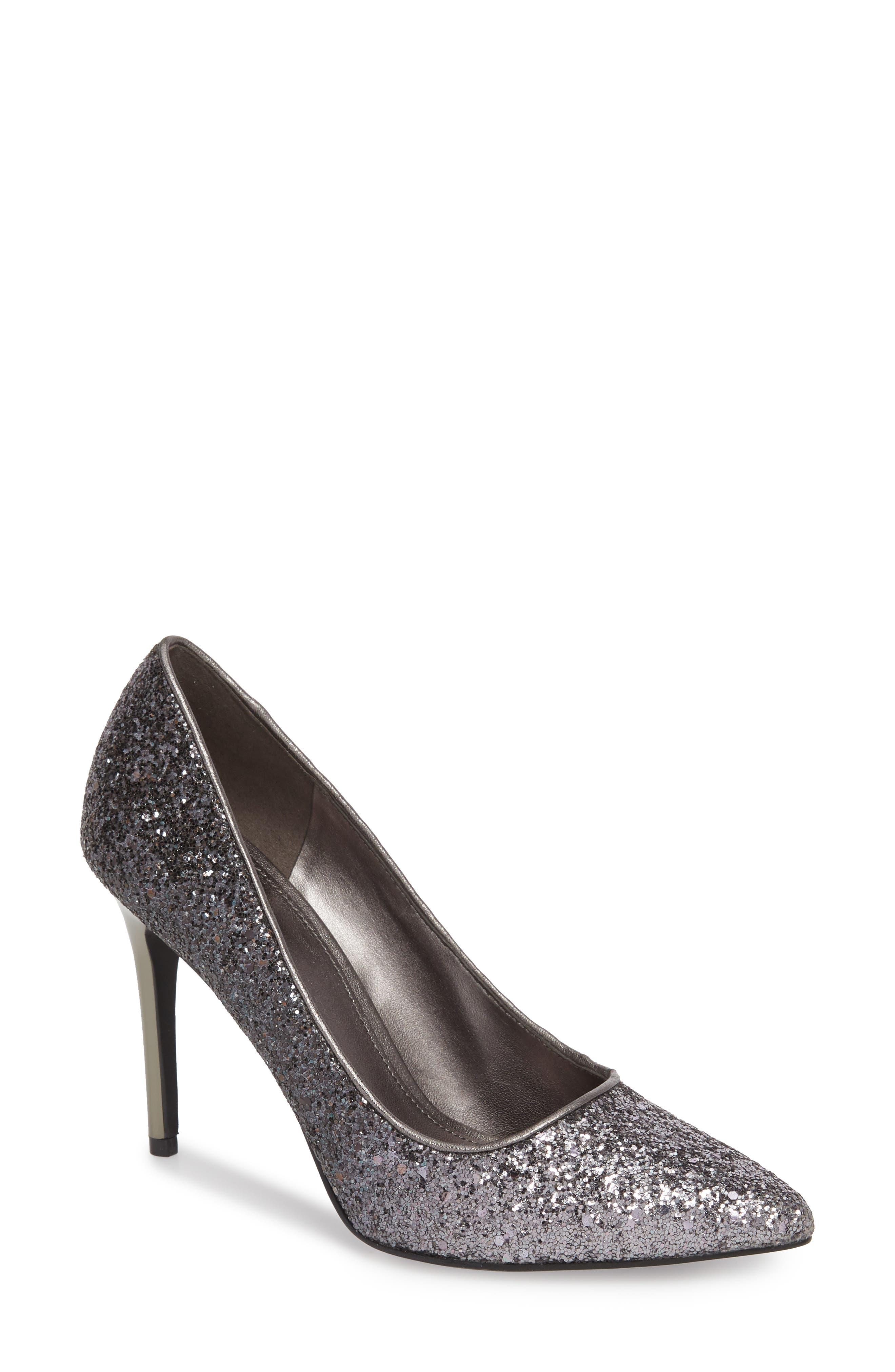 Claire Pointy Toe Pump,                             Main thumbnail 1, color,                             GUNMETAL GLITTER FABRIC