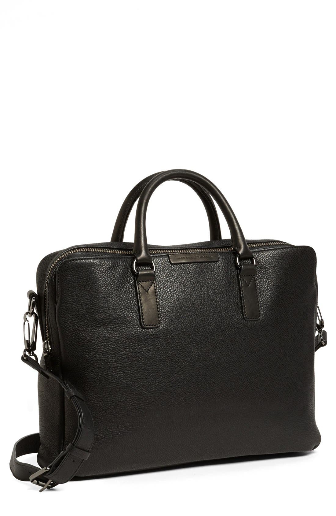 'Classic' Leather Briefcase, Main, color, 001
