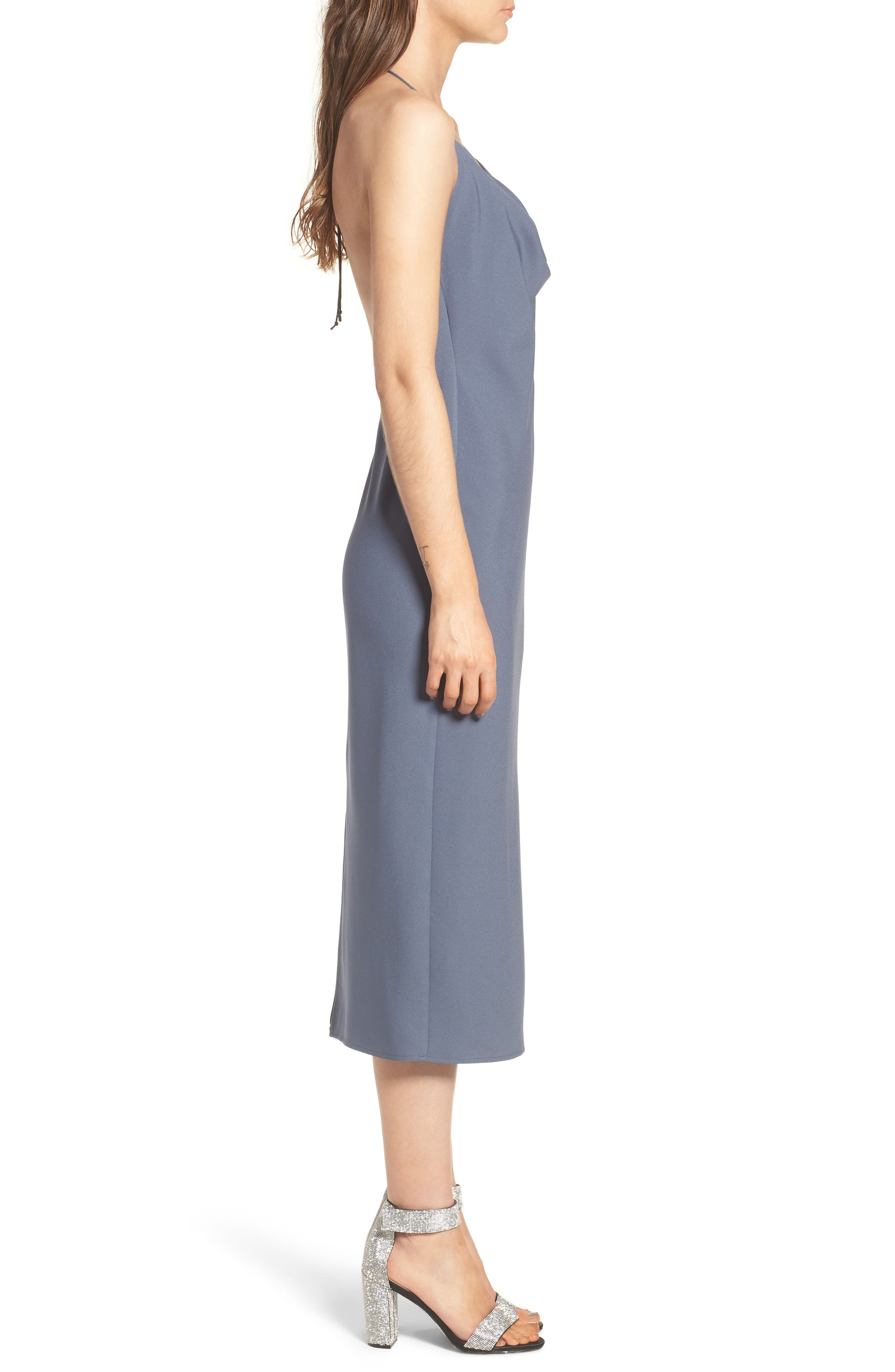Cowl Neck Midi Dress,                             Alternate thumbnail 3, color,                             030