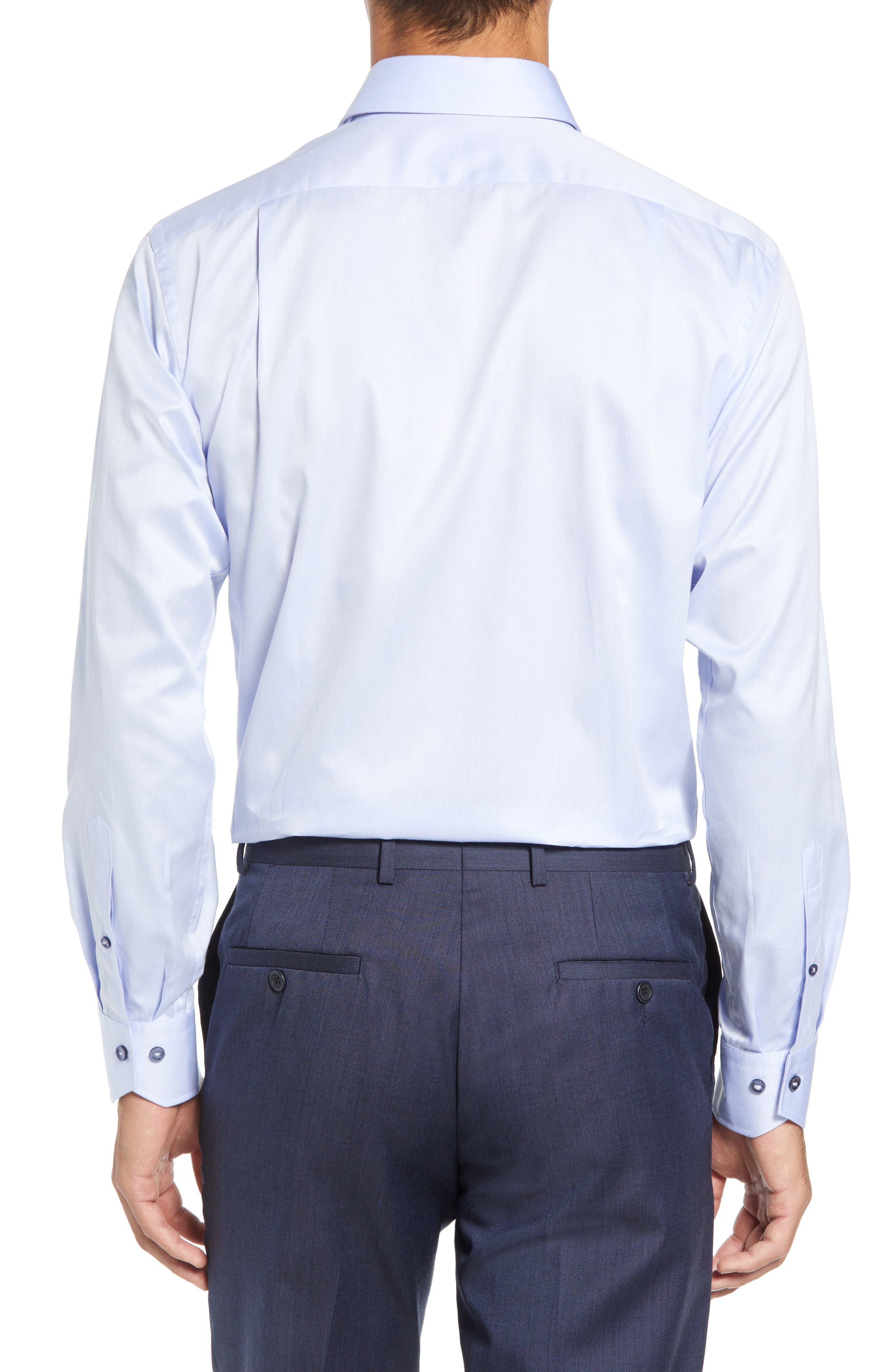 LORENZO UOMO,                             Trim Fit Solid Dress Shirt,                             Alternate thumbnail 3, color,                             LIGHT BLUE