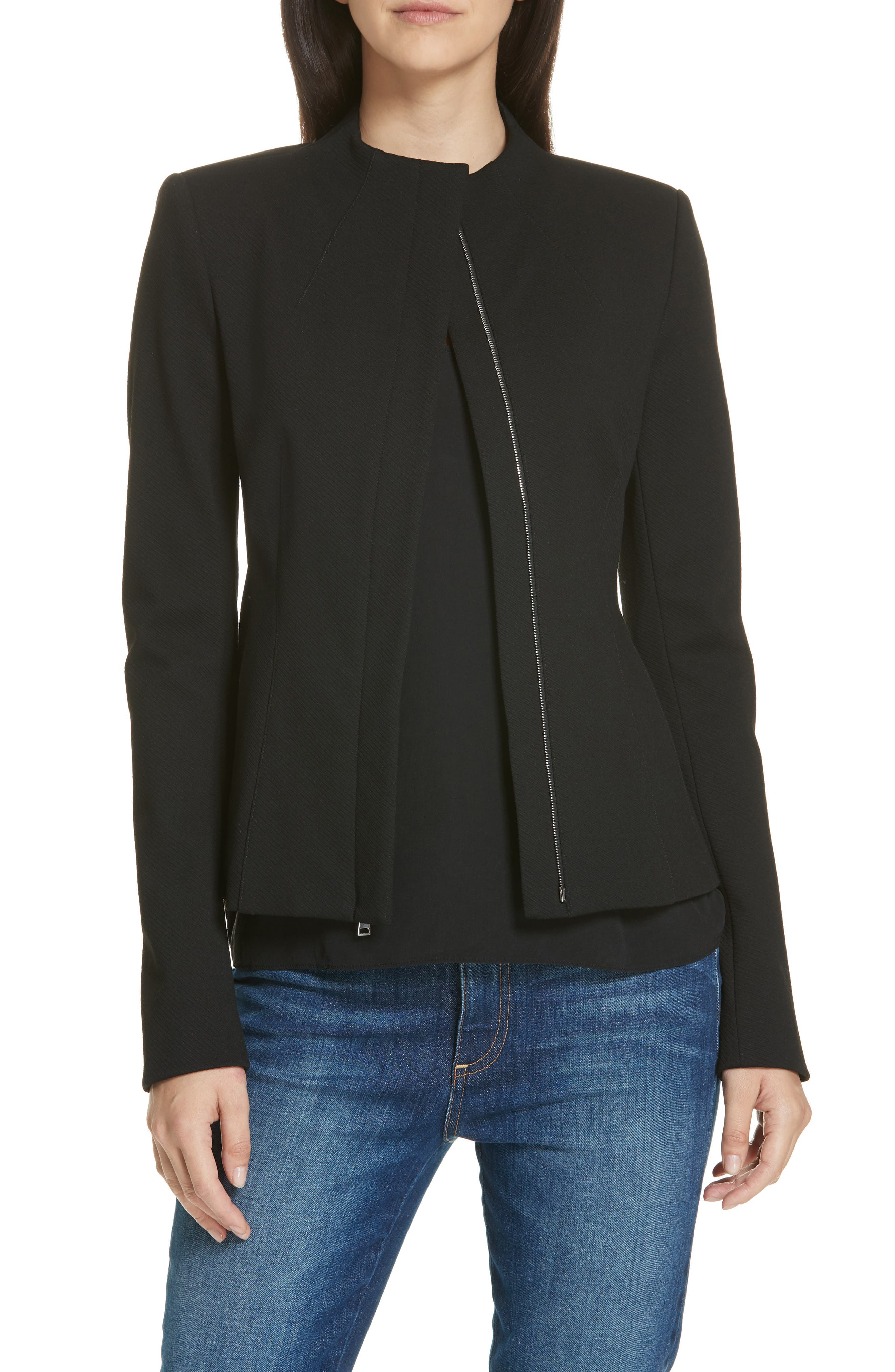 Sculpted Twill Knit Jacket,                         Main,                         color, BLACK