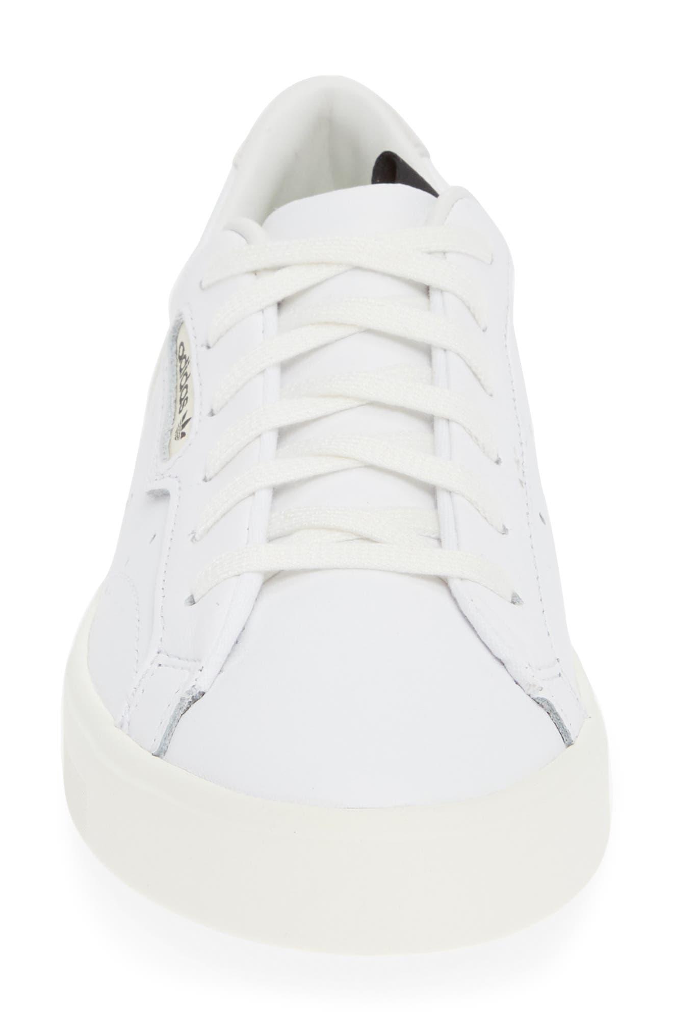 ADIDAS,                             Sleek Leather Sneaker,                             Alternate thumbnail 4, color,                             WHITE/ OFF WHITE/ CRYSTAL