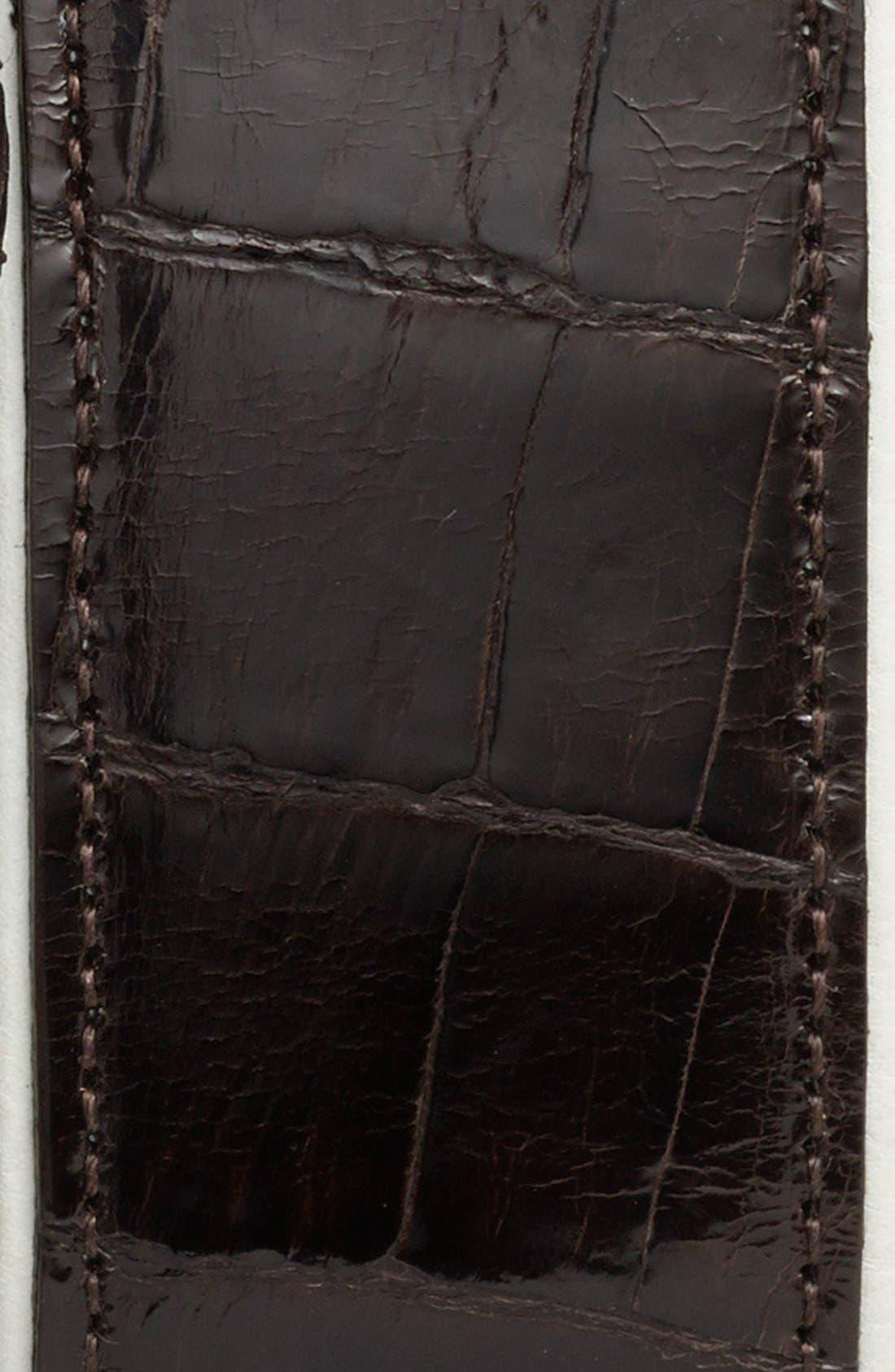 'Saratoga' Genuine Crocodile Leather Belt,                             Alternate thumbnail 2, color,                             BROWN