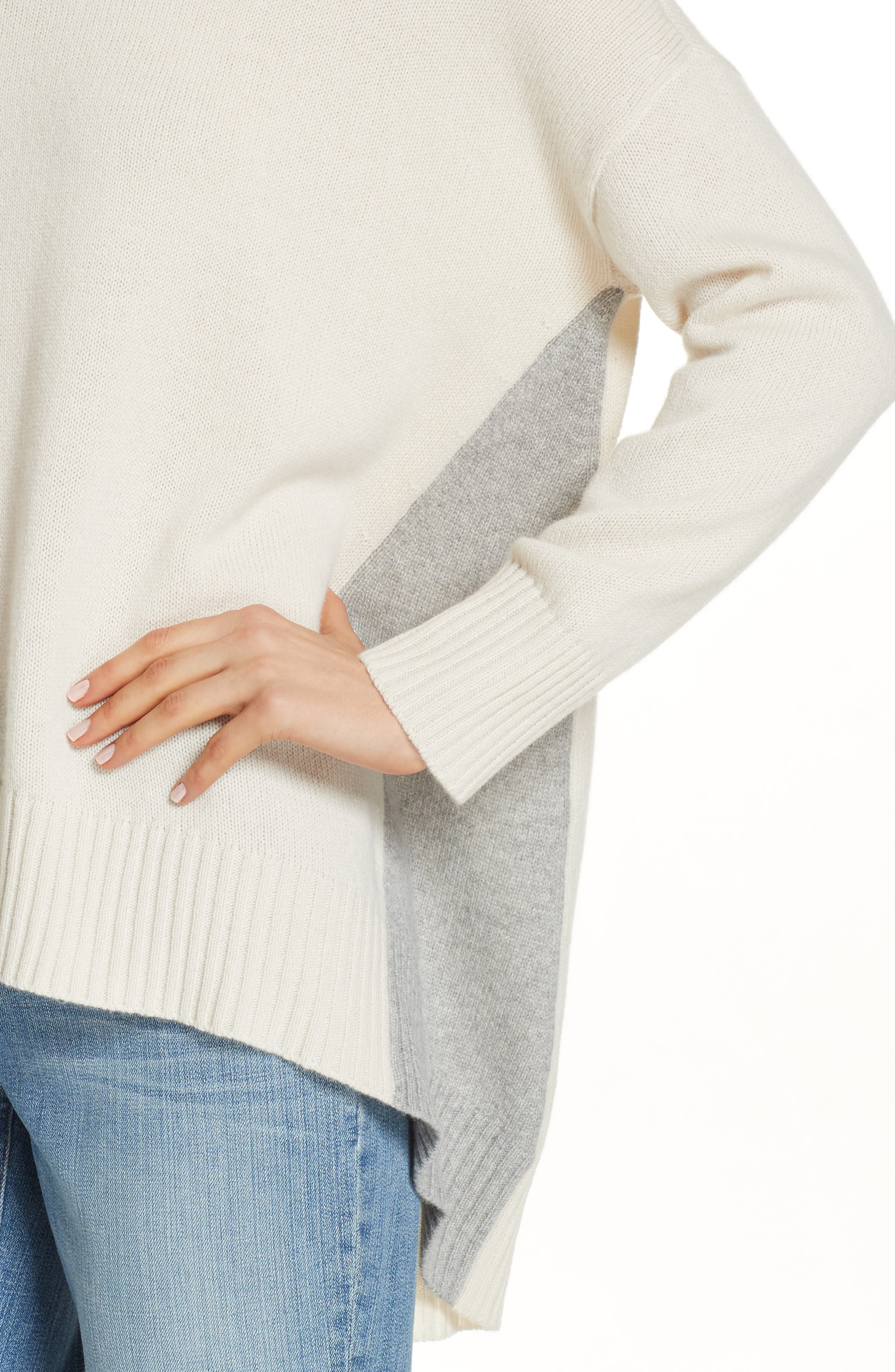 Oversize Cashmere & Wool Sweater,                             Alternate thumbnail 4, color,                             SOFT WHITE/ DARK PEARL