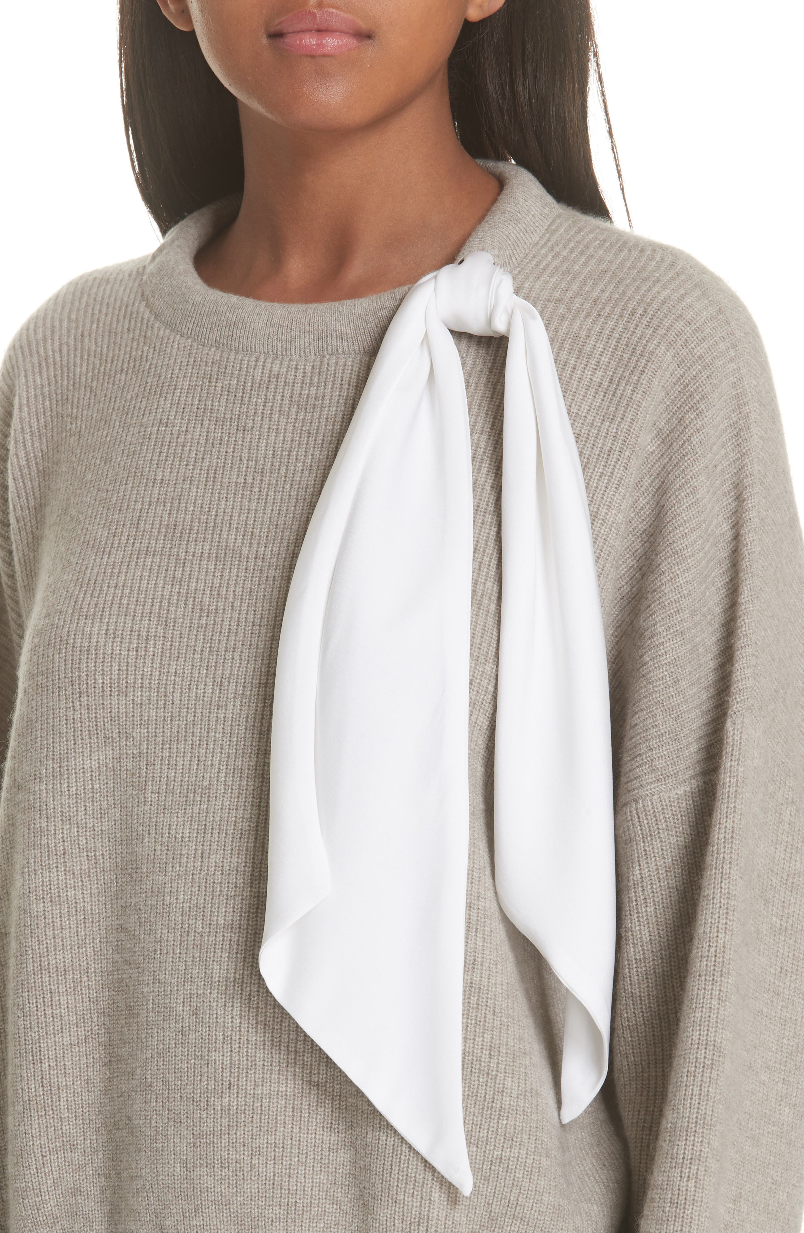 Silk Scarf Detail Wool & Cashmere Sweater,                             Alternate thumbnail 4, color,                             TAUPE