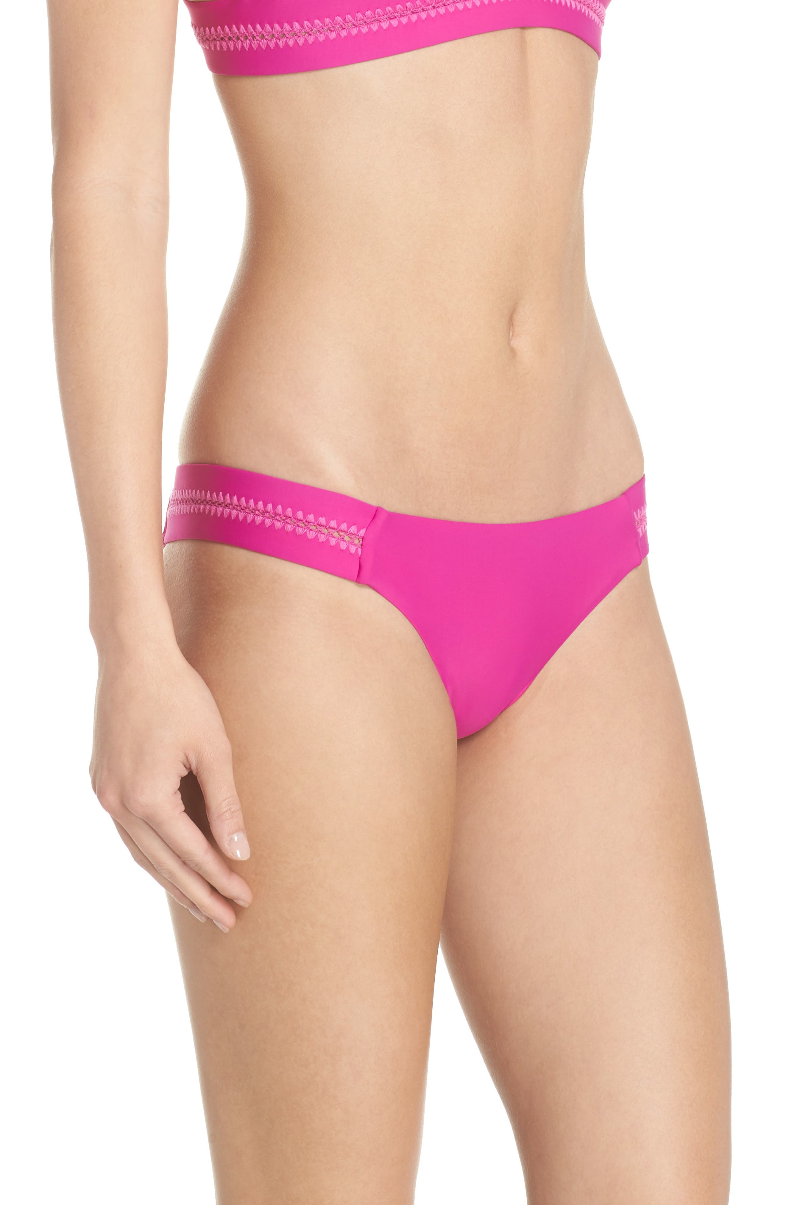 Teeny Stitched Bikini Bottoms,                             Alternate thumbnail 3, color,                             FUCHSIA