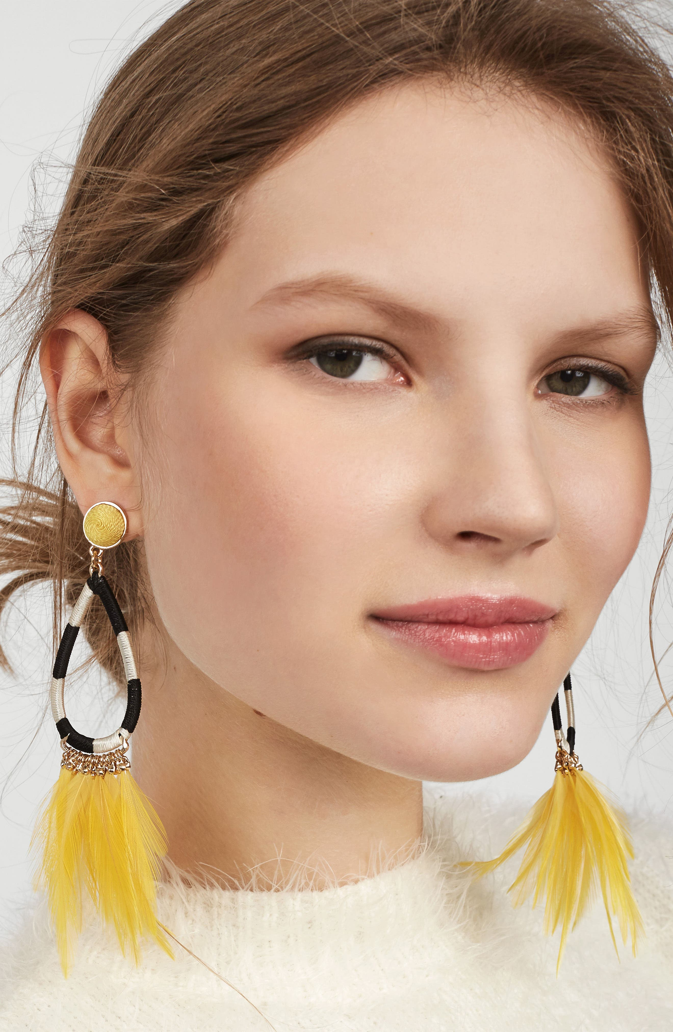 Marigold Feather Shoulder Duster Earrings,                             Alternate thumbnail 2, color,                             700