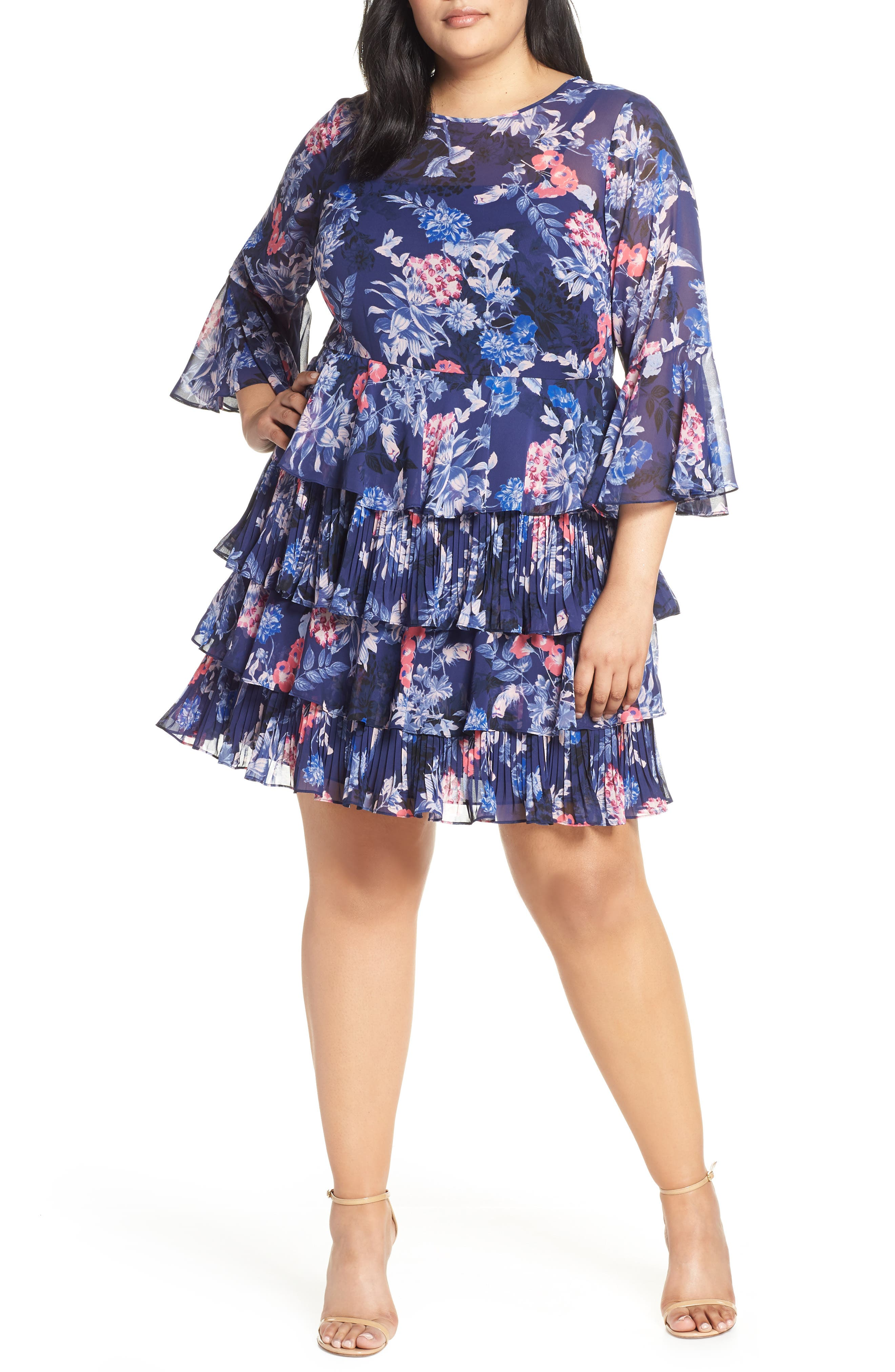 Plus Size Eliza J Bell Sleeve Tiered Minidress, Blue
