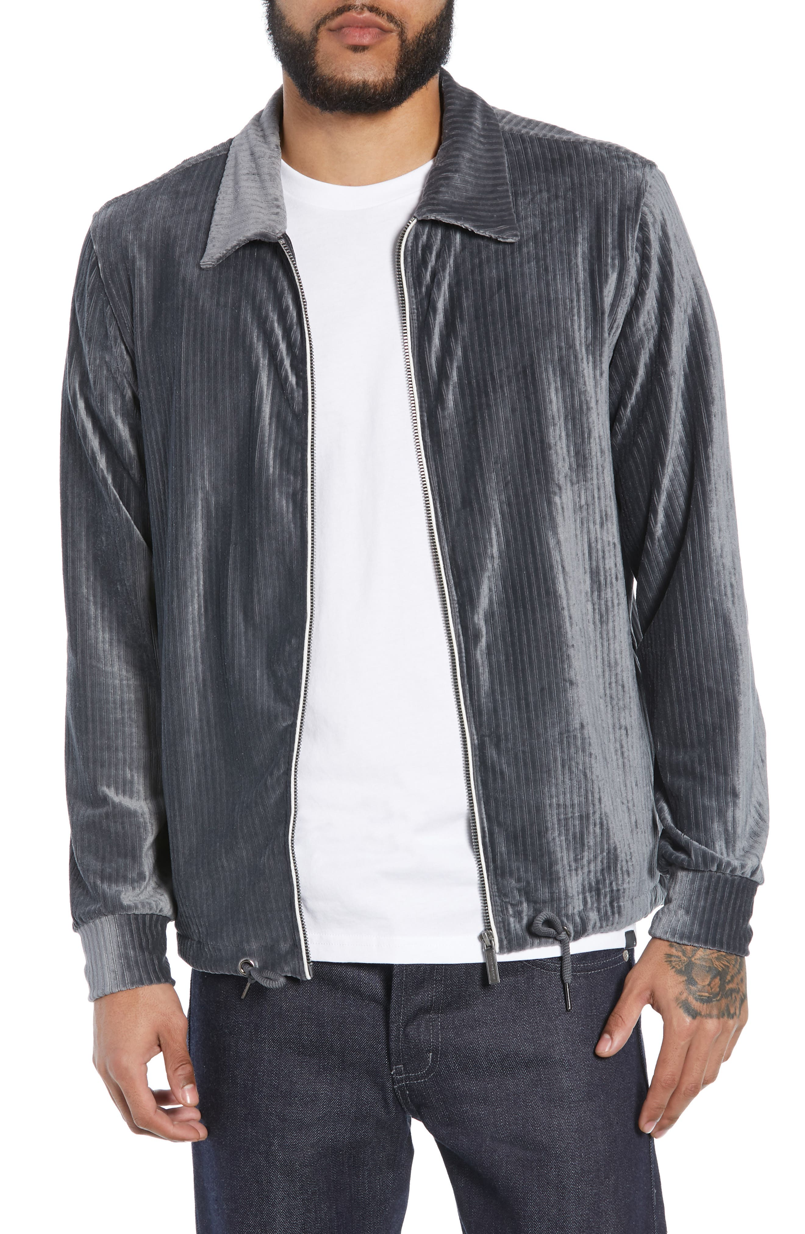 NATIVE YOUTH Ribbed Velour Jacket in Grey