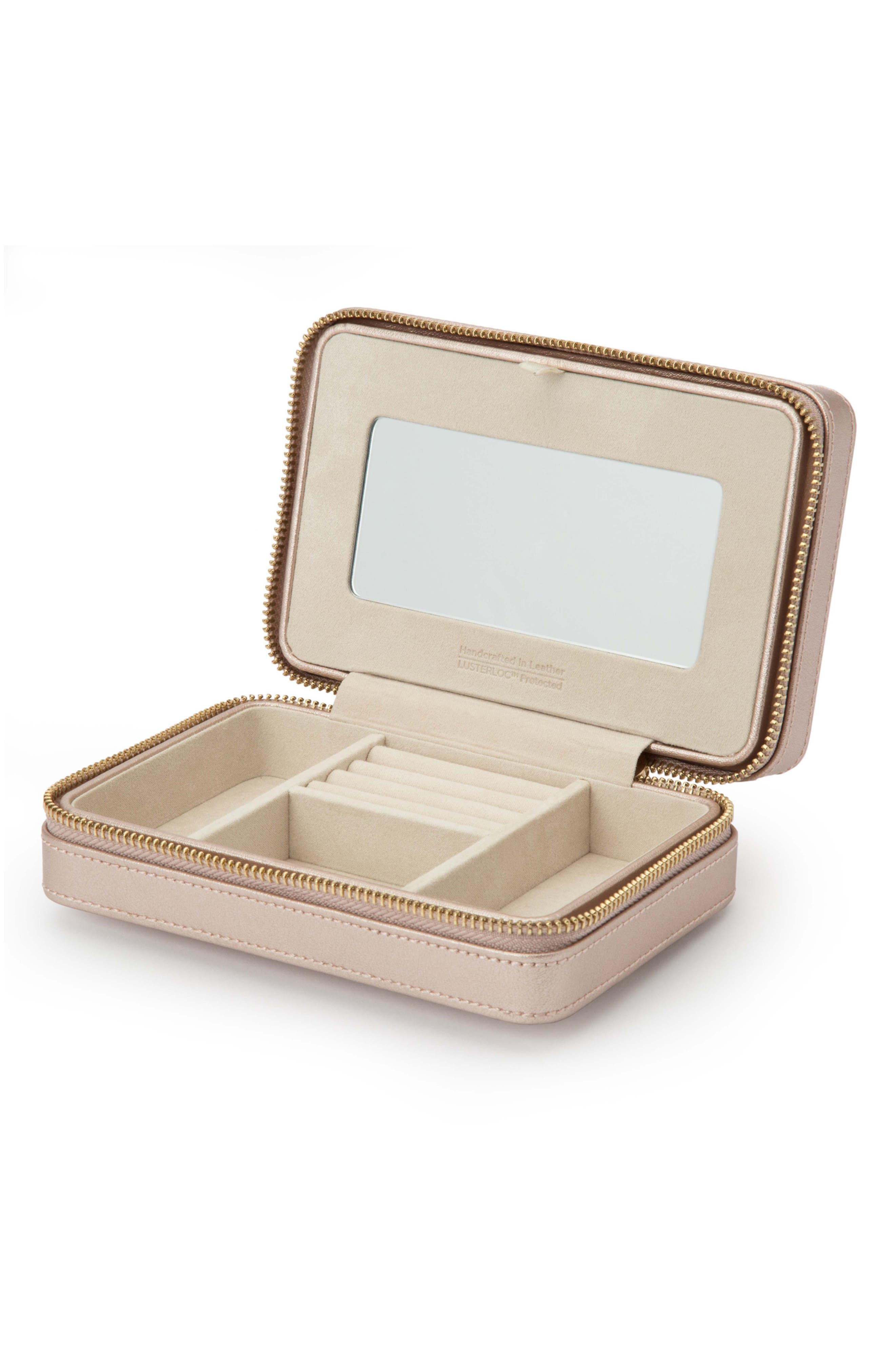 Palermo Zip Jewelry Case,                             Alternate thumbnail 2, color,                             ROSE GOLD